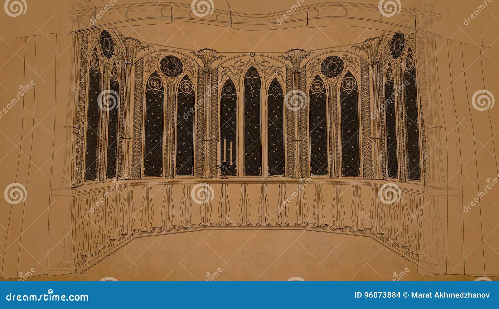Gotischer Balkon im alten Schloss 3d übertragen Illustrationshintergrund