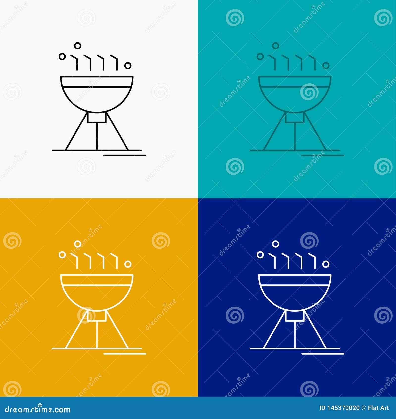 Gotować bbq, camping, jedzenie, grill ikona Nad Różnorodnym tłem Kreskowego stylu projekt, projektuj?cy dla sieci i app EPS 10 we