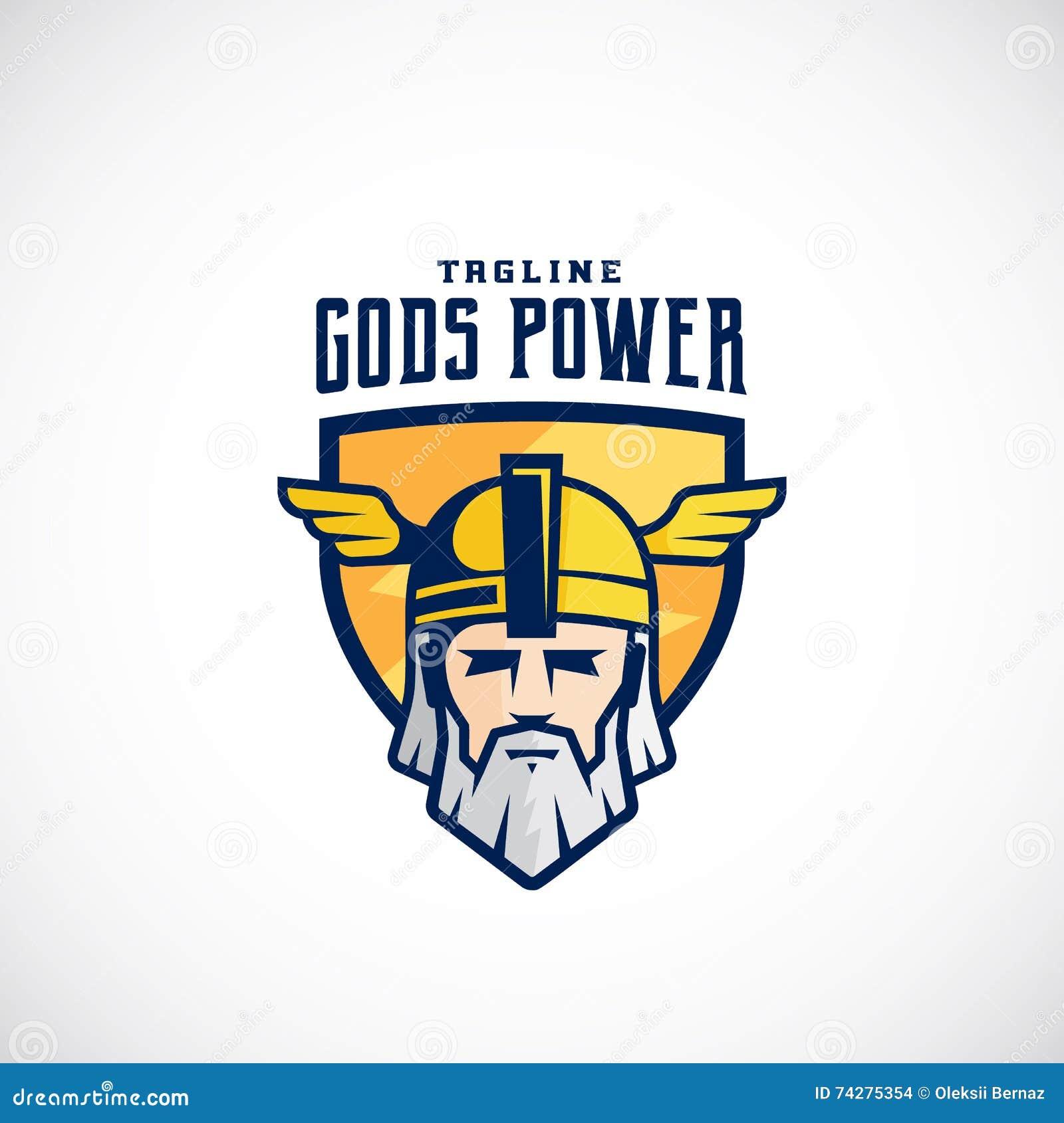 Gott-Energie-Vektor-Sport-Team oder Liga Logo Template Odin Face in einem Schild, mit Typografie
