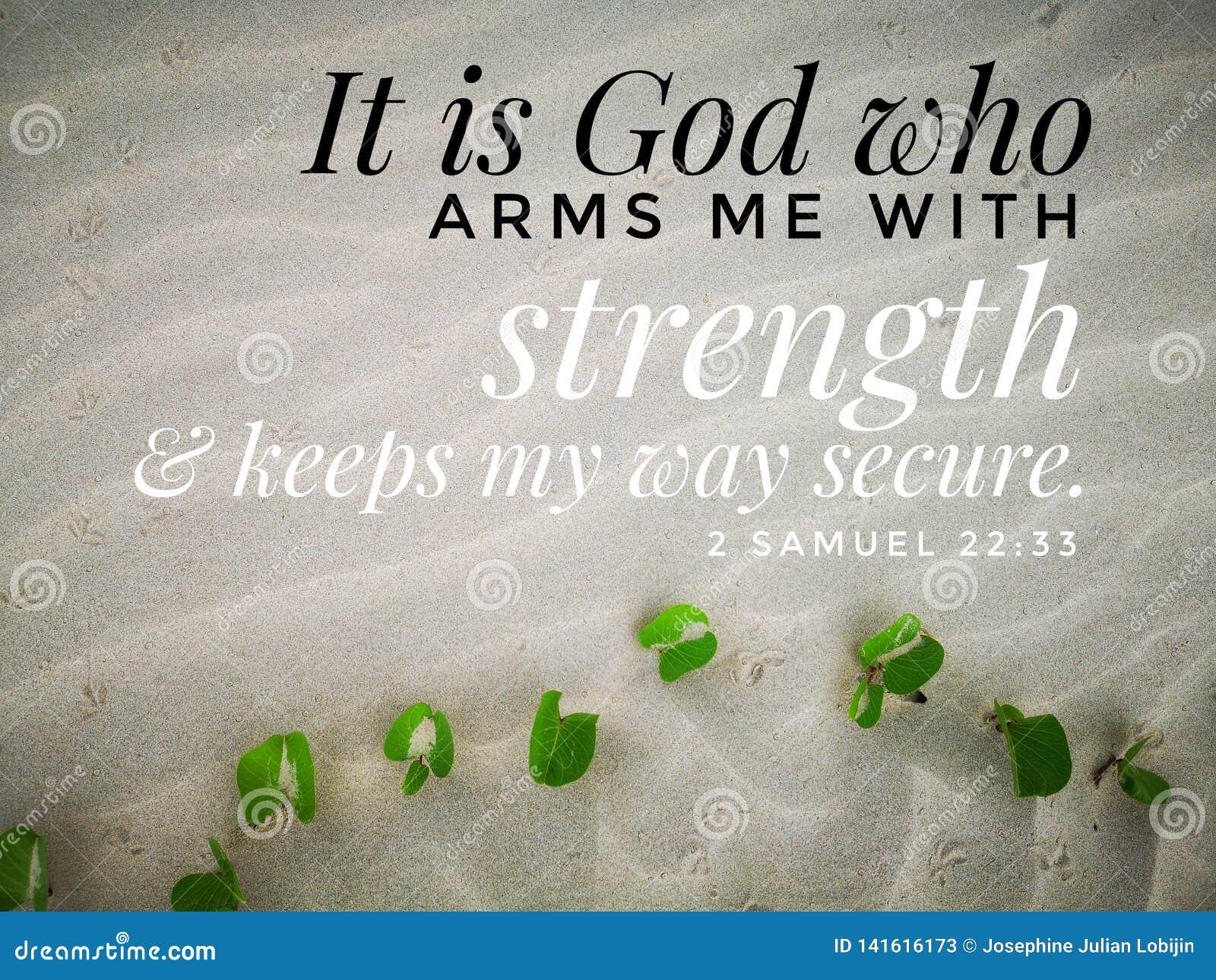 Gott gibt mir Stärke mit Bibelversentwurf für Christentum mit Hintergrund des sandigen Strandes
