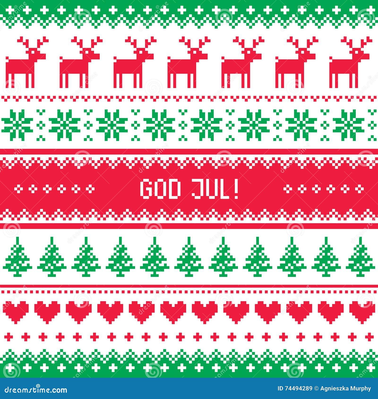 gott jul muster frohe weihnachten auf schwedisch