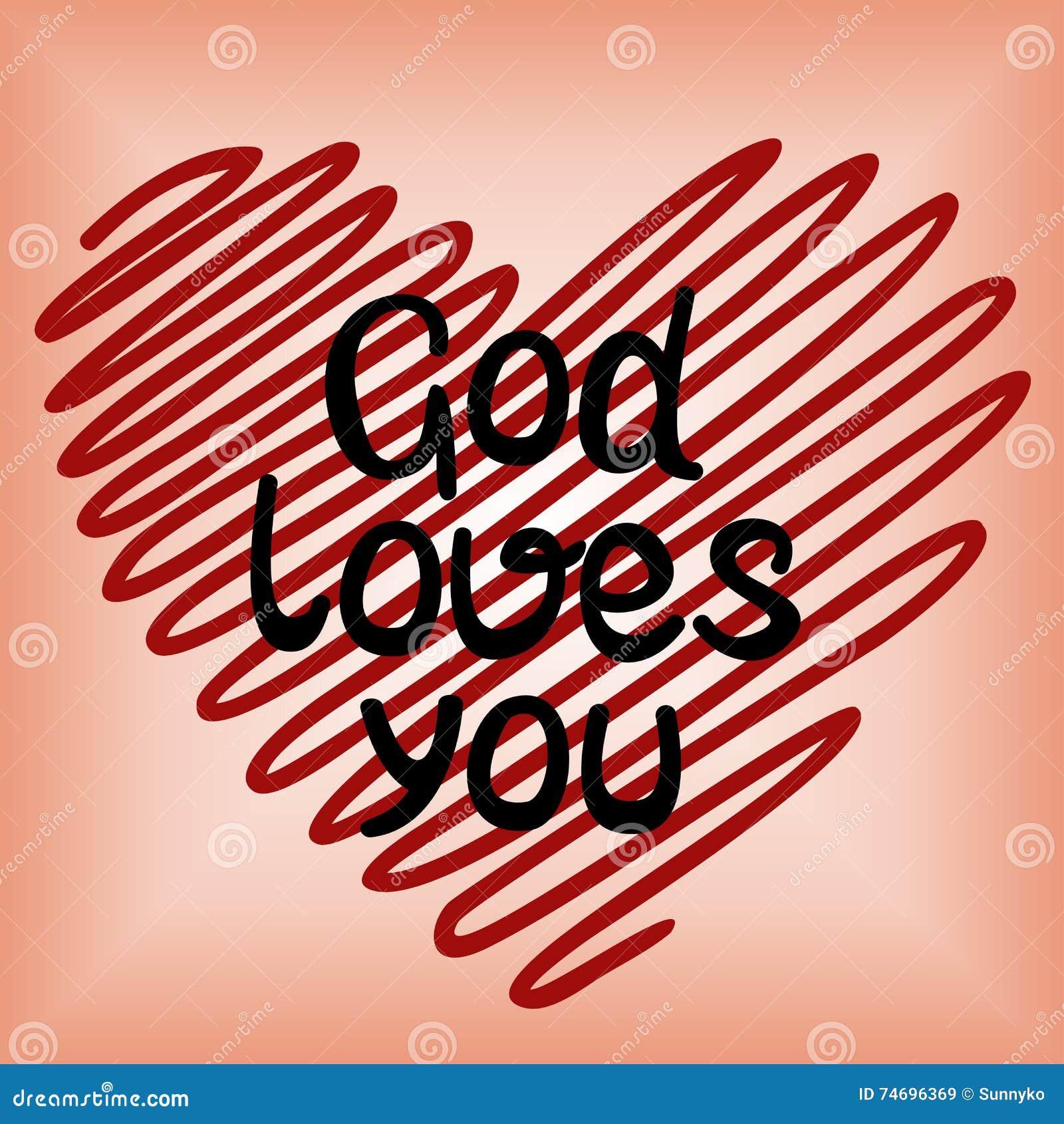 Gott liebt Sie, getan im roten Herzen