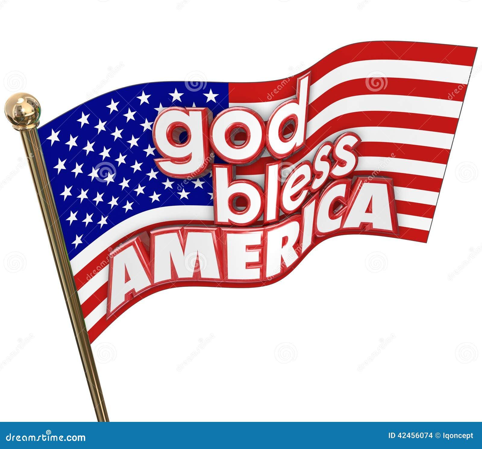 Gott segnen Flaggen-Vereinigter Staaten Amerikas USA Religions-Motto