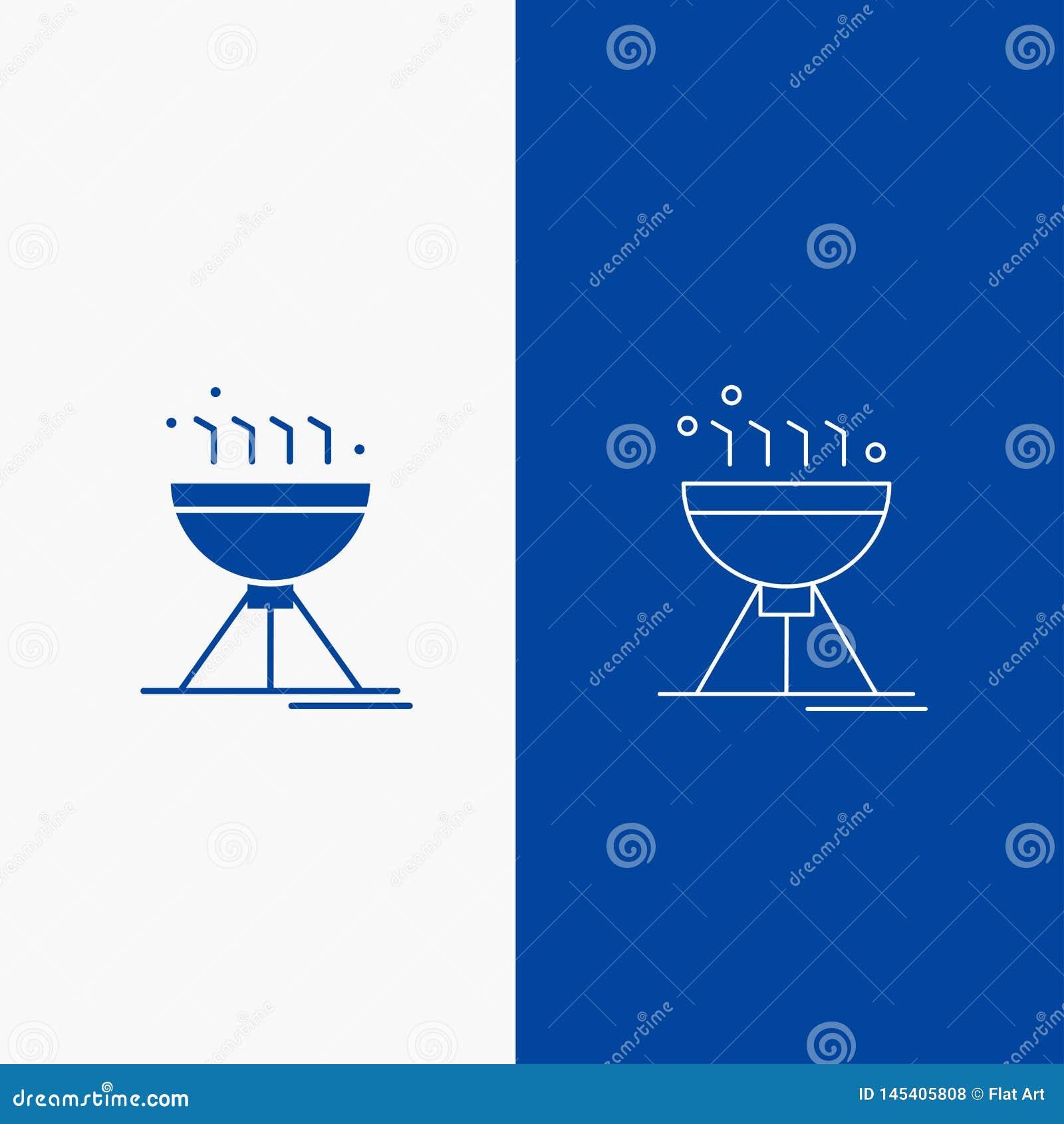 Gotujący bbq, campingu, jedzenia, grill linii i glifu sieć, Zapina w Błękitnego koloru Pionowo sztandarze dla UI, UX, strona inte