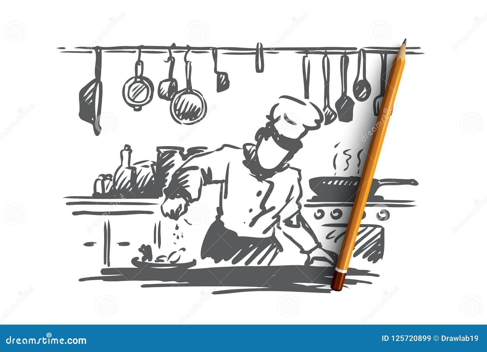 Gotujący, szef kuchni, jedzenie, posiłku pojęcie Ręka rysujący odosobniony wektor