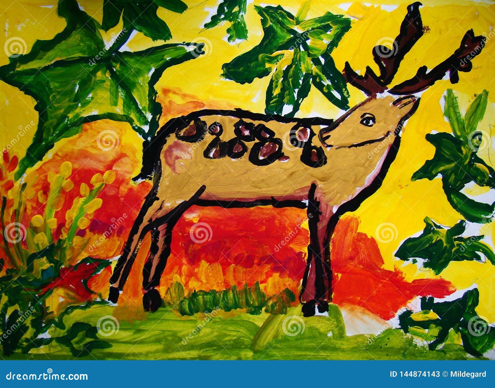 Gentle deer painted by child