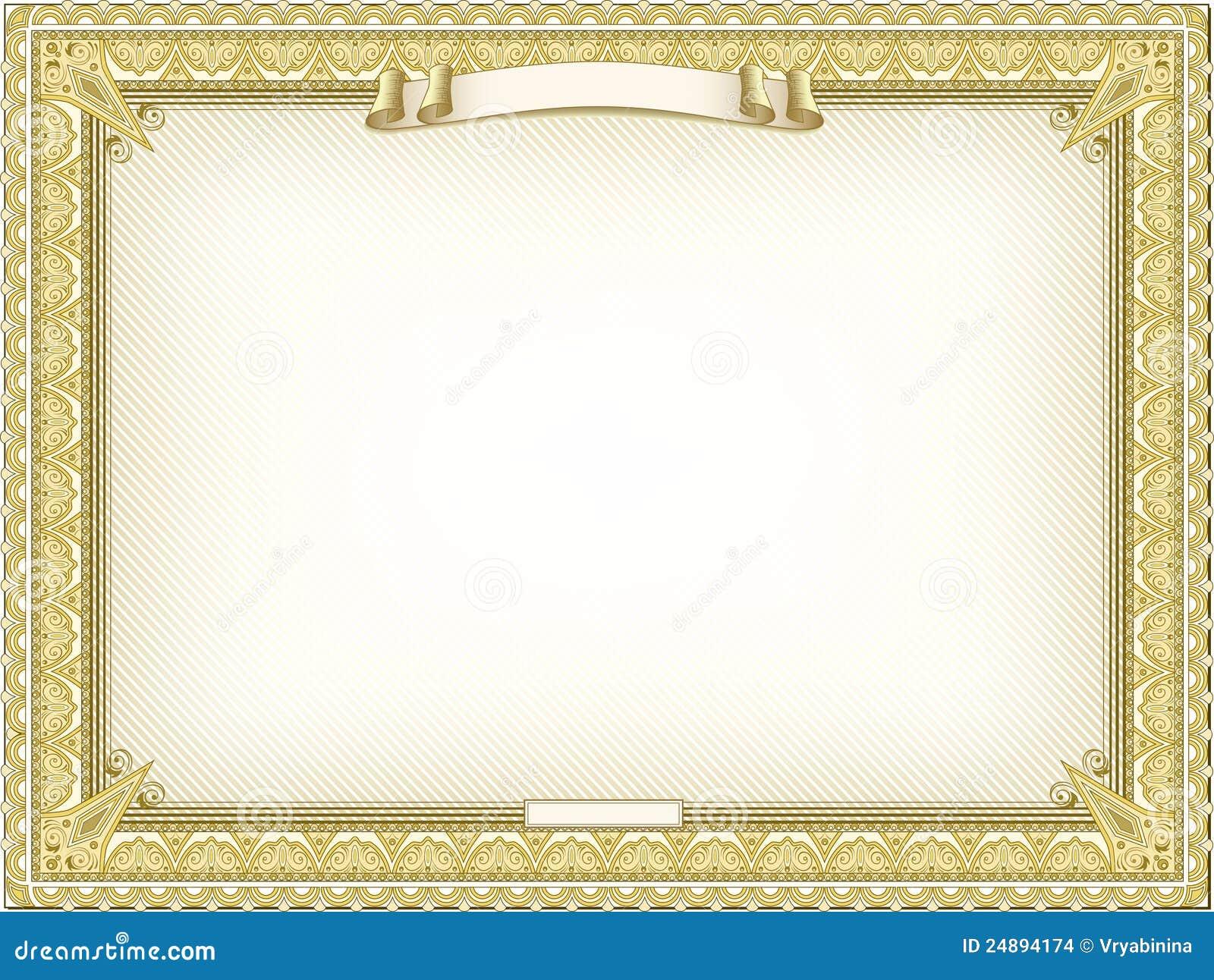 Goud Gedetailleerd Certificaat Vector Illustratie