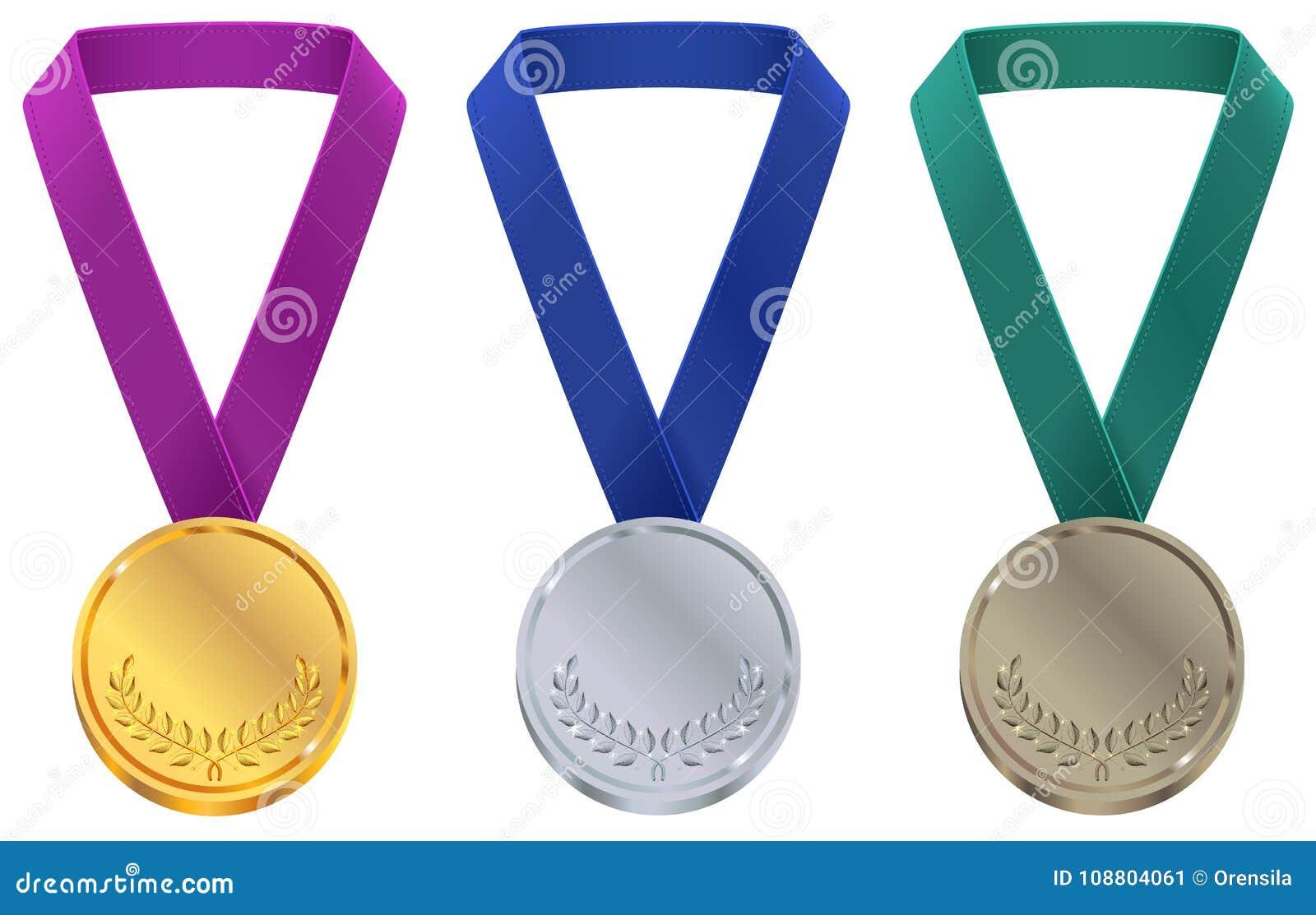 Goud, zilver en bronsmedaille bij het malplaatje van de Winterolympische spelen Vastgestelde sportmedaille op band