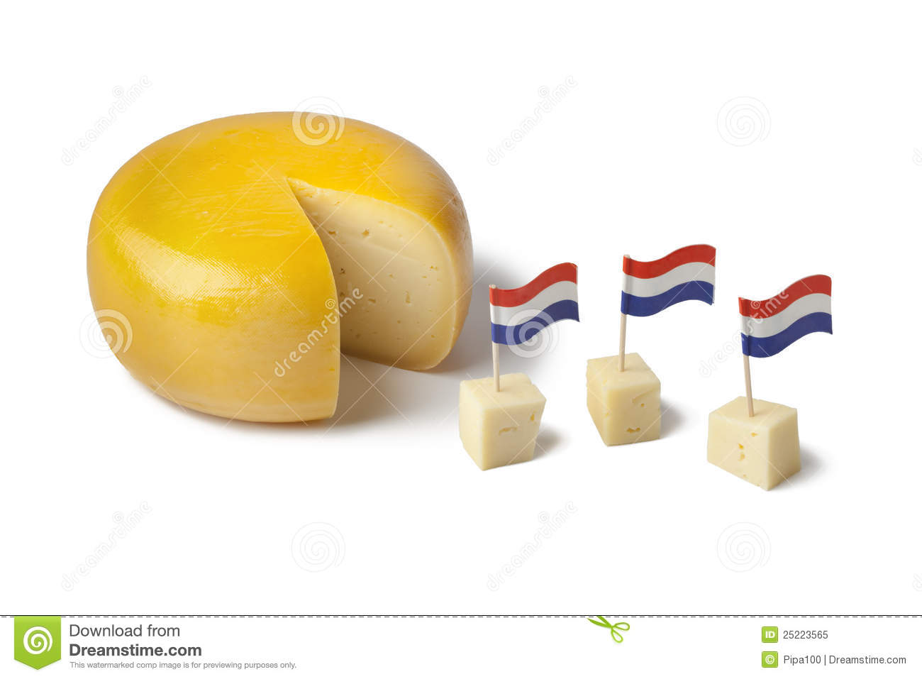 Gouda Cheese With Dutch Flags Royalty Free Stock Photo