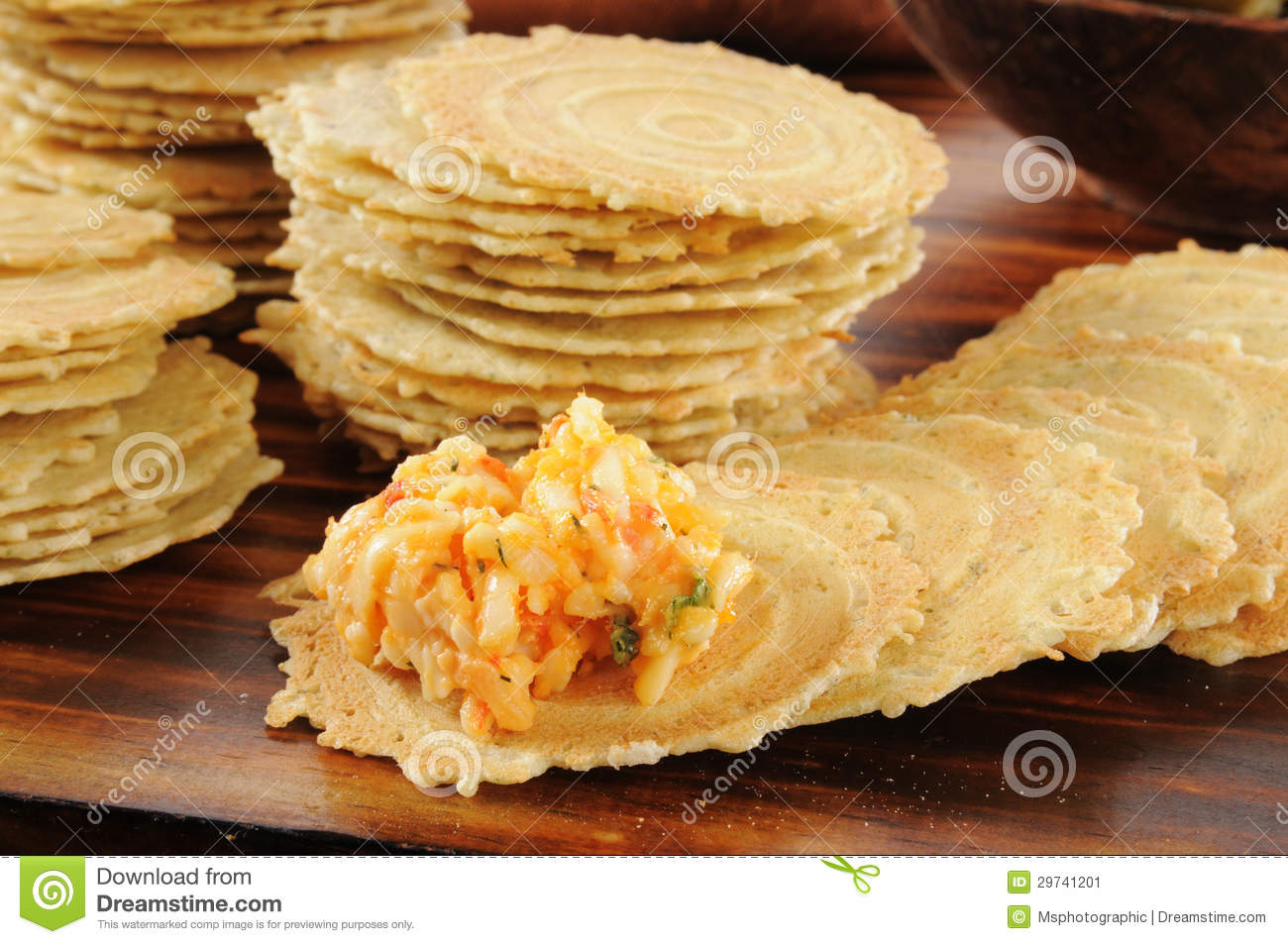 Gouda And Pimento Cheese Spread On Crackers Stock Image - Image ...
