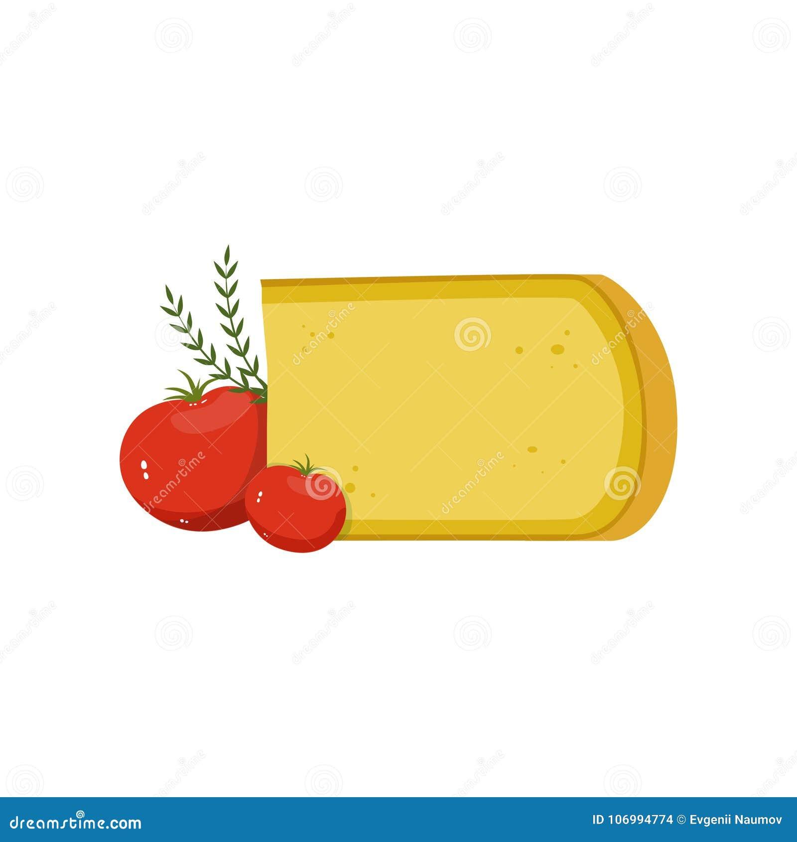 Gouda ser, czerwoni pomidory i zieleni imbirowi liście, pojęcia odżywczy karmowy wyśmienity Naturalny nabiał Płaski wektorowy pro