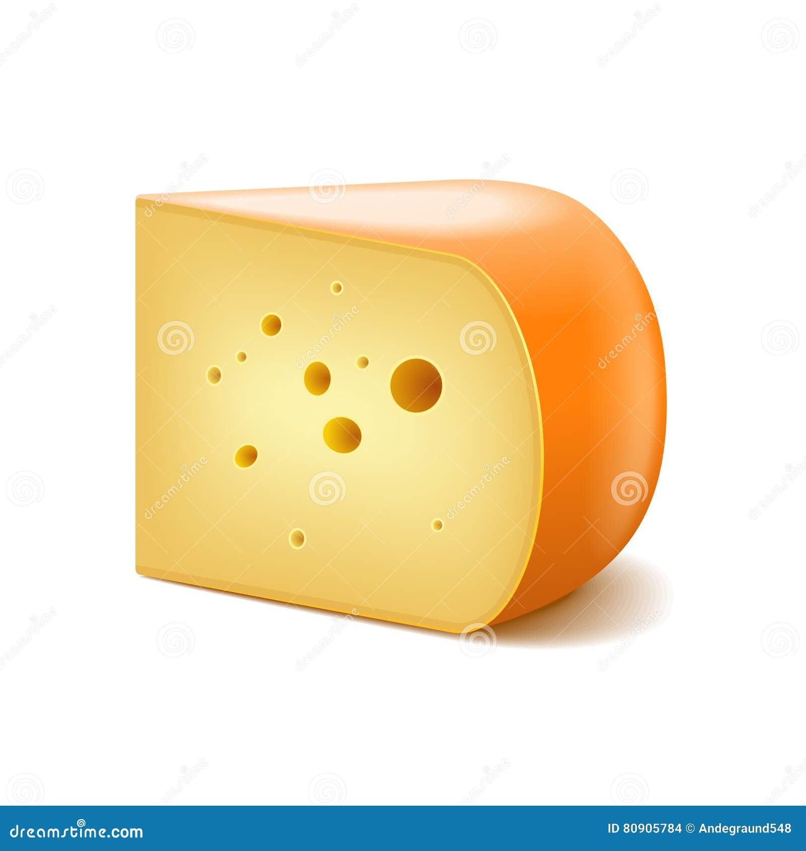 Gouda ser na białym wektorze