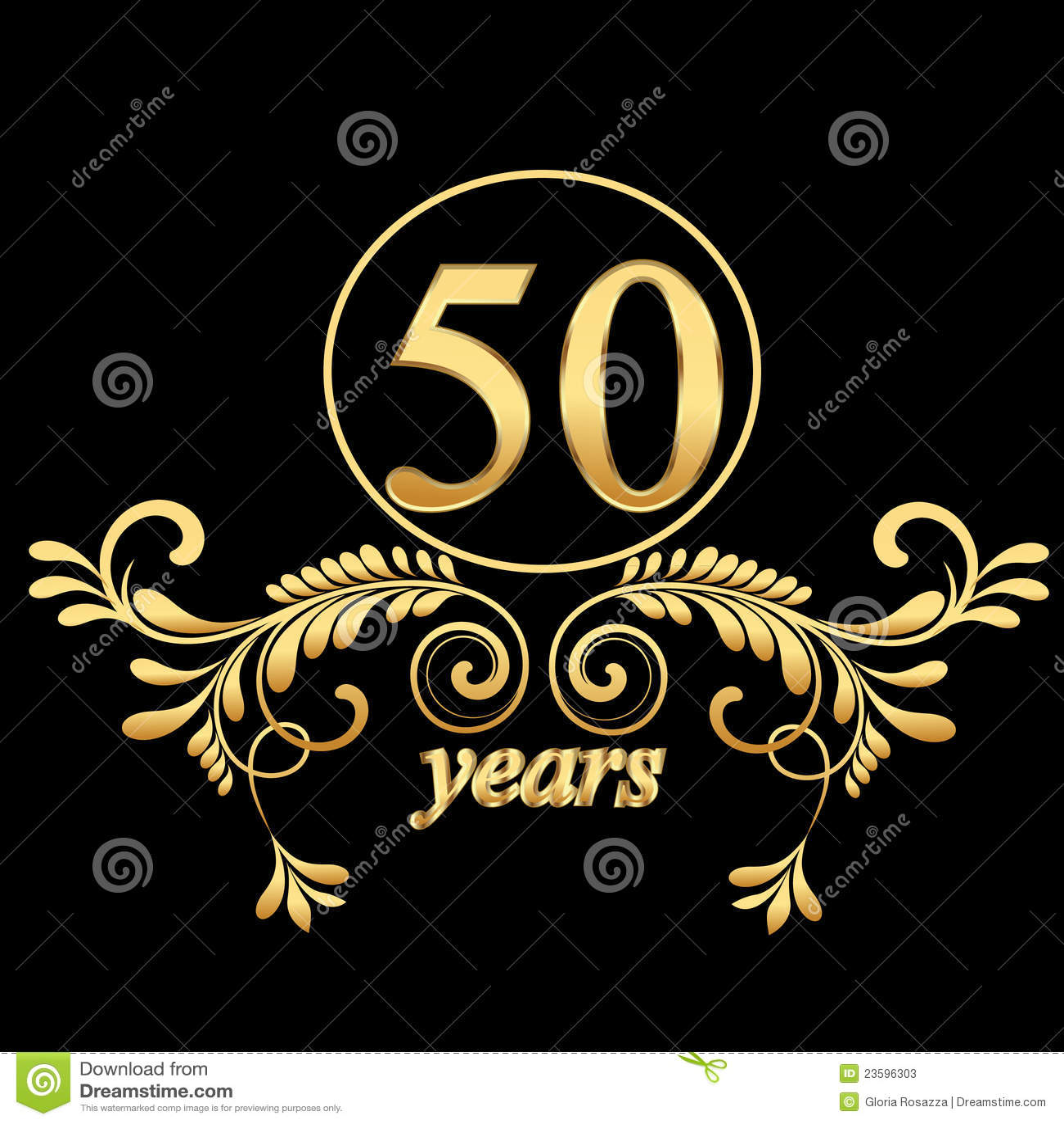 50 jaar bedrijf Gouden 50 jaar vector illustratie. Illustratie bestaande uit  50 jaar bedrijf