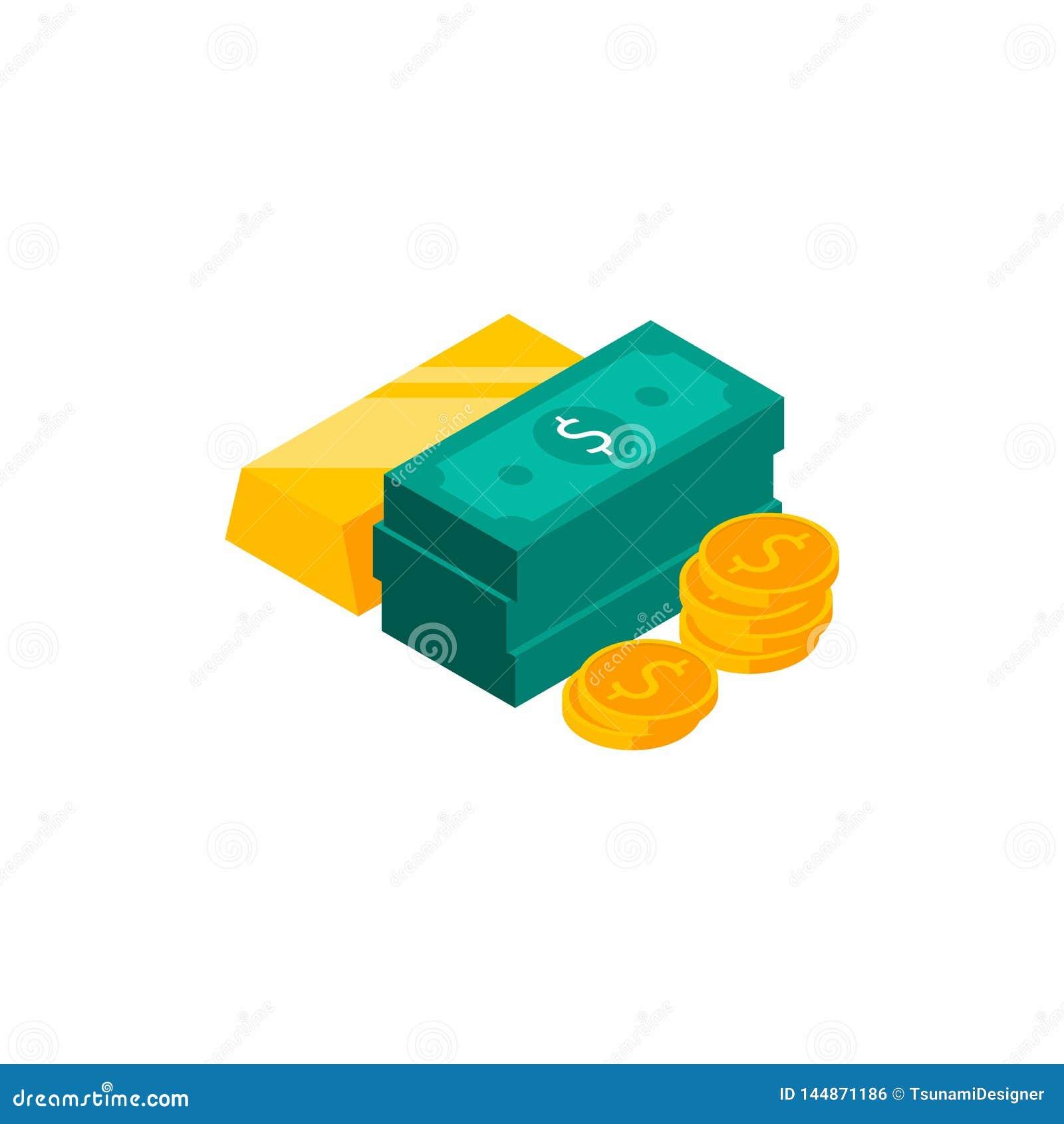 Gouden bar, Dollarsbundels, Geld, Dollar, Stapel van geld, Isometrisch Muntstuk, Financiën, Zaken, Geen achtergrond, Vector, Vla
