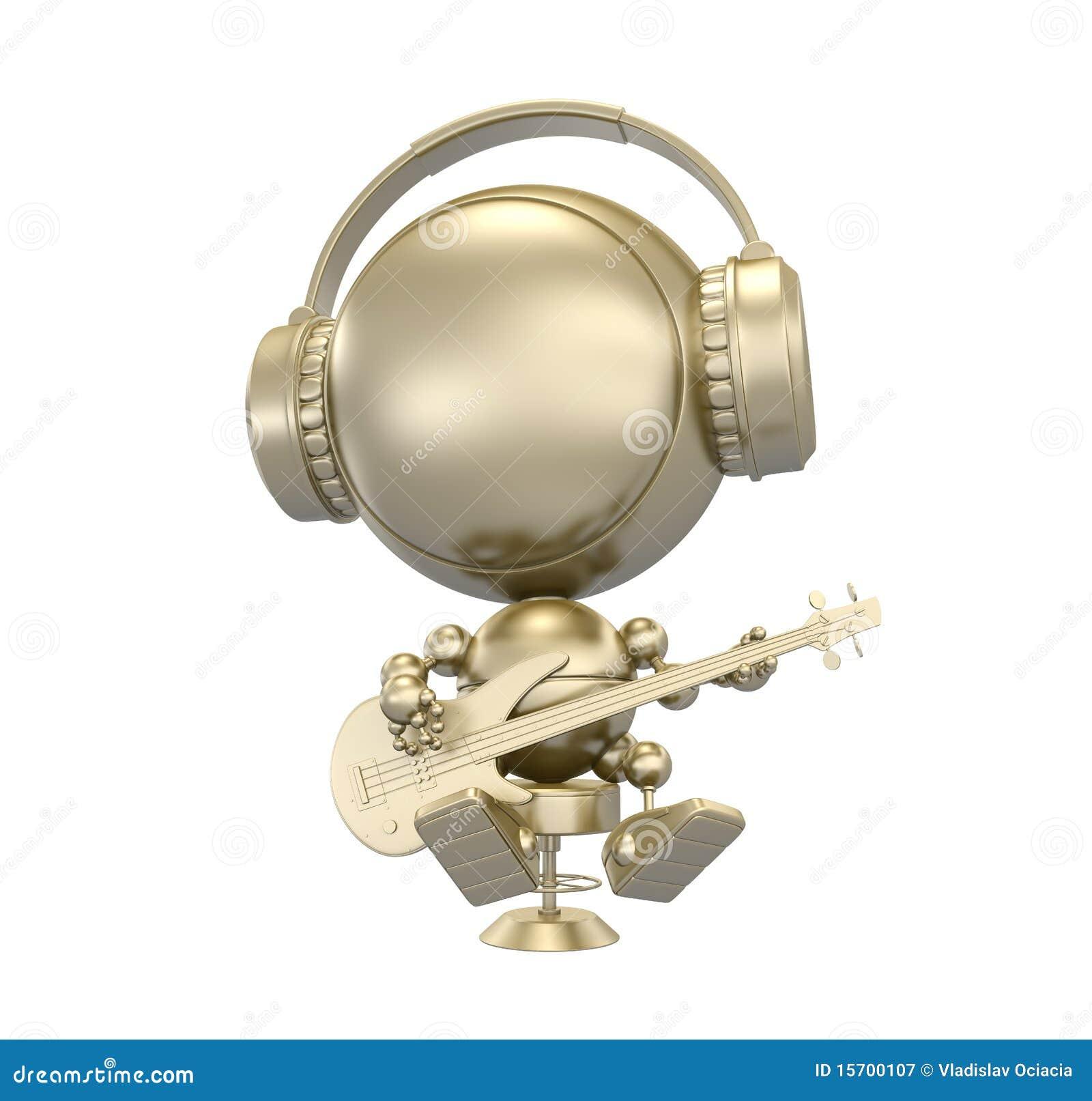 Gouden beeldje van robot - musicus