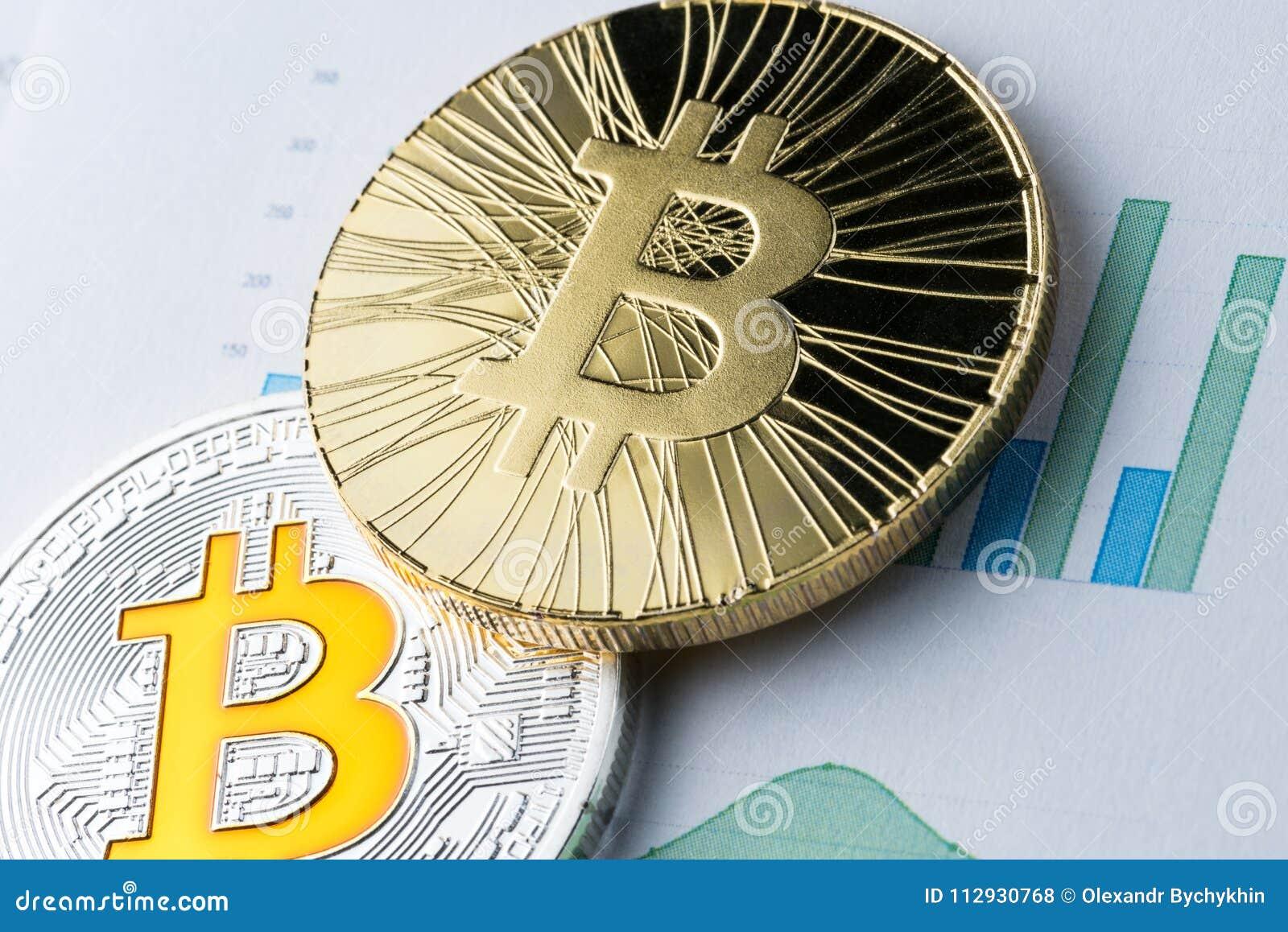 Gouden bitcoin op grafiek en diagrammenachtergrond concept handelcrypto munt en virtueel geld