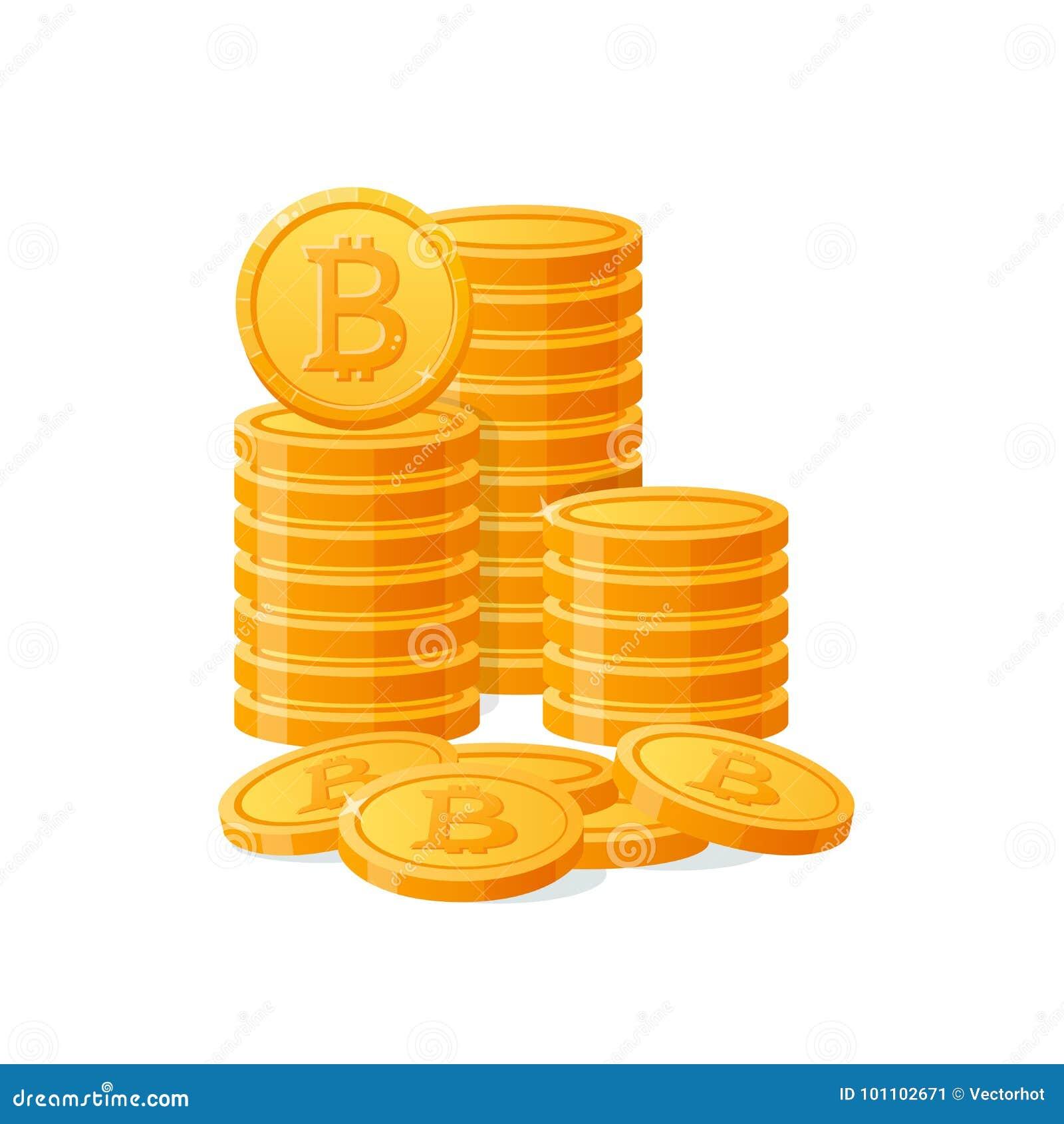 Gouden bitcoins digitaal geld van de stapelberg Cryptocurrencymuntstukken, virtuele munt, kapitalisatie Geïsoleerdh pictogram