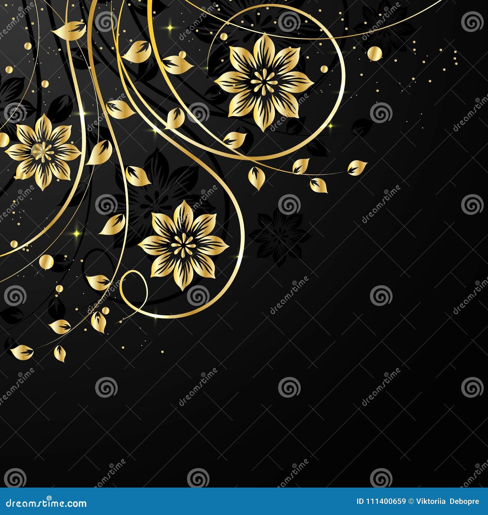 Gouden bloemen met schaduw op donkere achtergrond