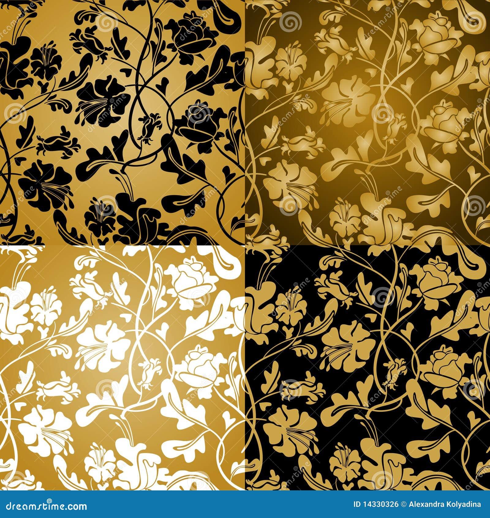 Gouden bloemen naadloos royalty vrije stock afbeelding ...