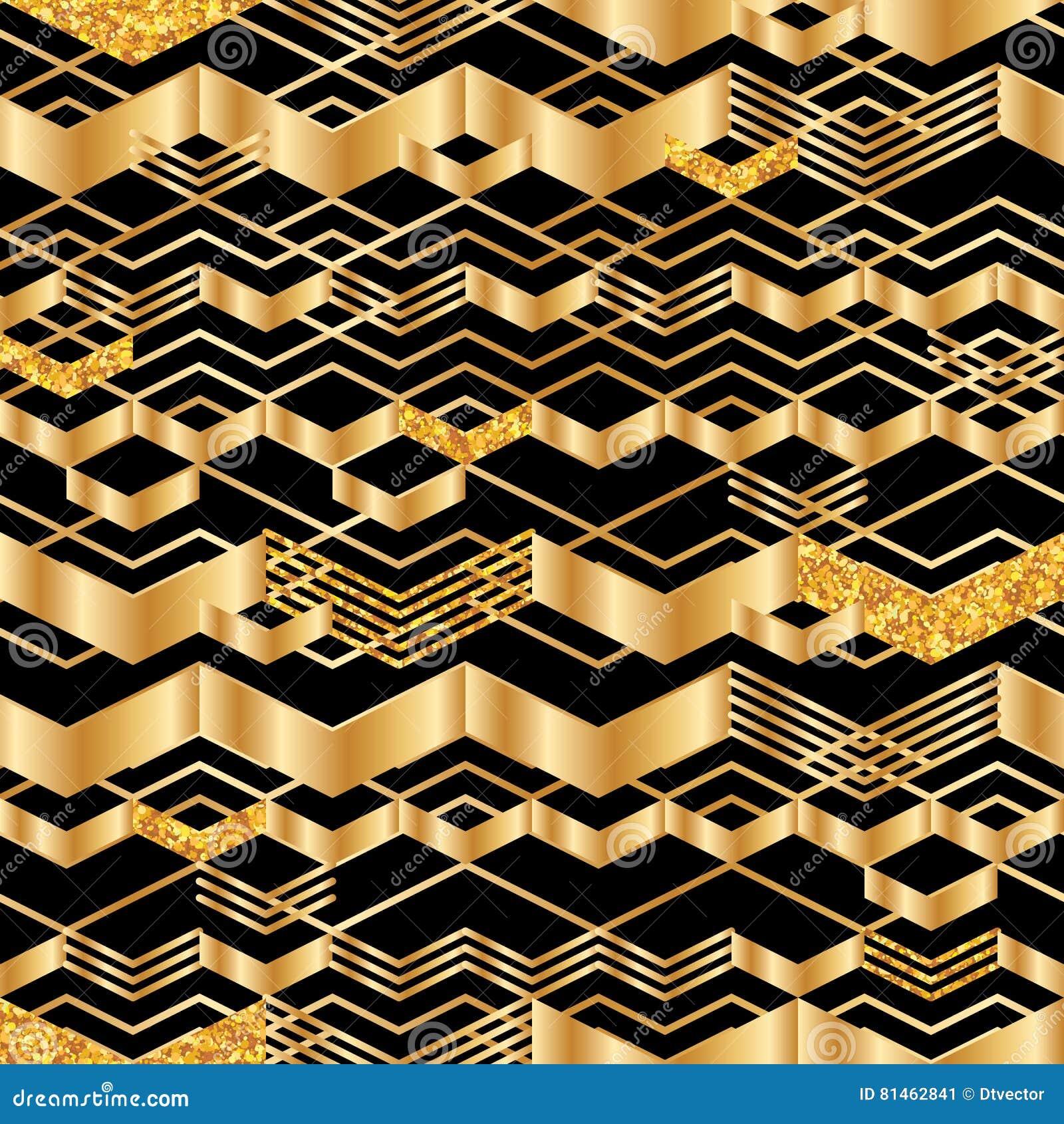 Gouden chevron de lijn schittert naadloos patroon