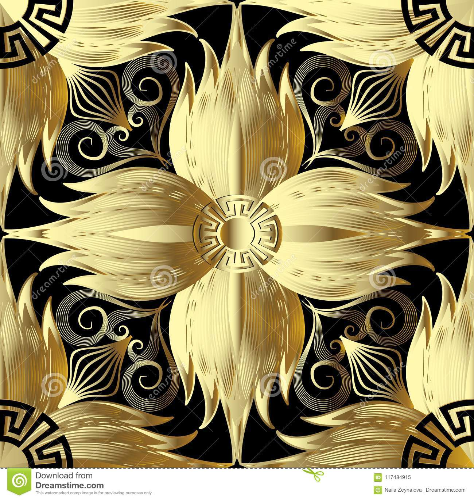 Gouden 3d bloemen naadloos patroon Vector abstracte bloemenbackgro