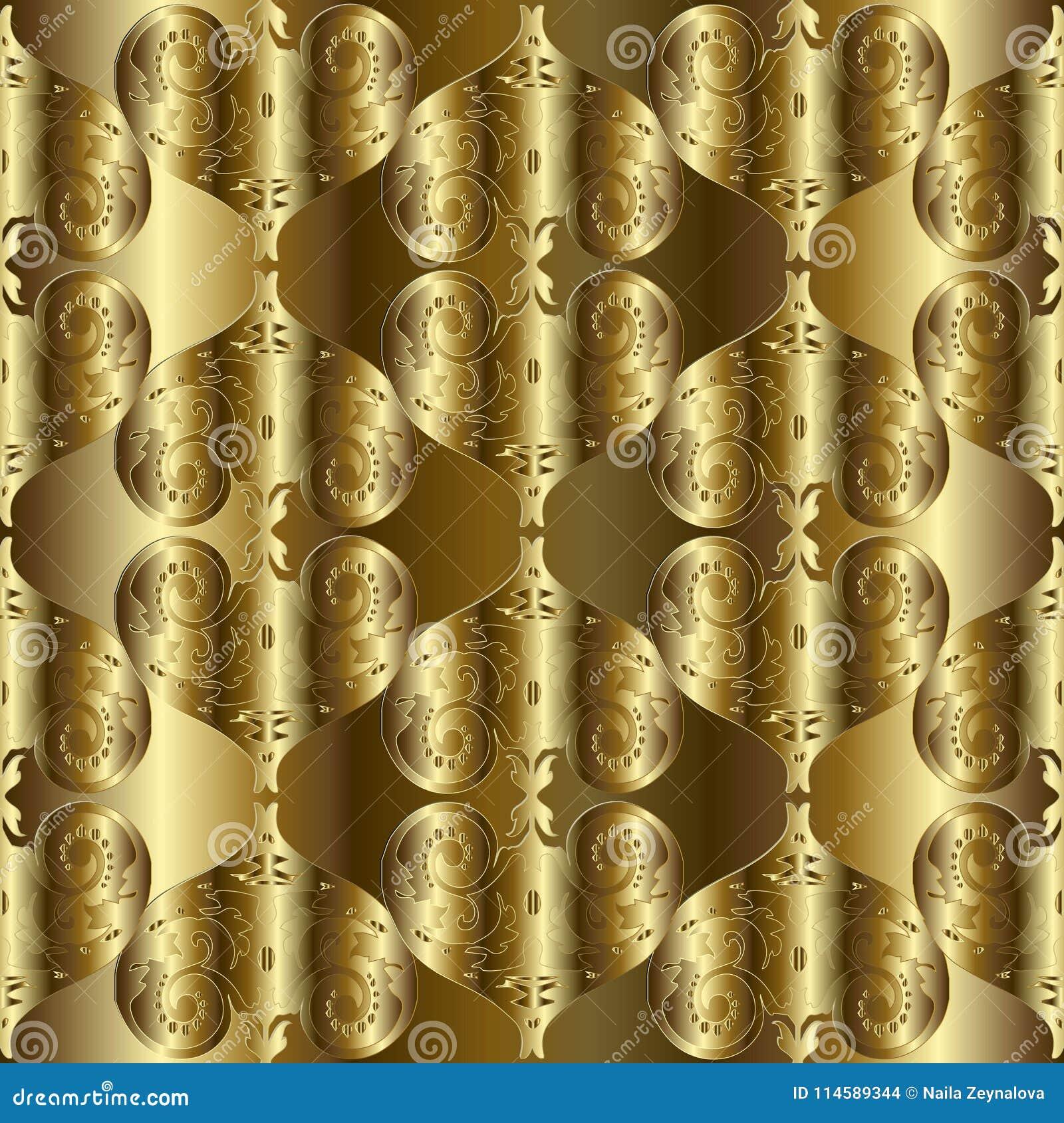 Gouden 3d Geweven Barok Naadloos Patroon Vector Gouden Gordijn ...