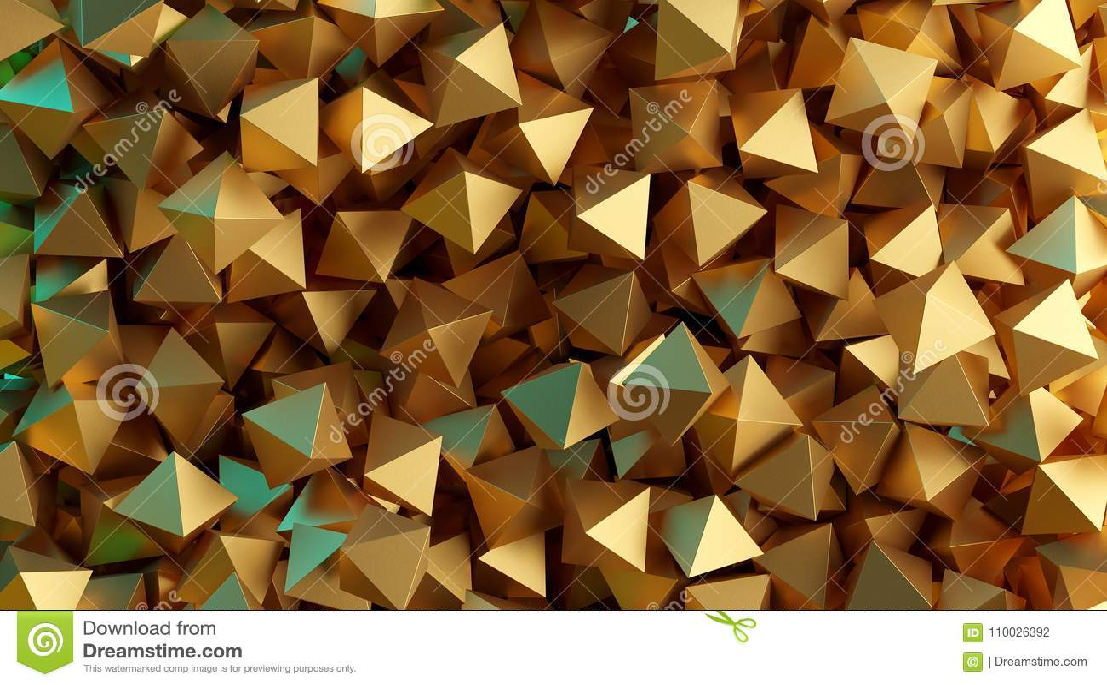 Gouden 3D piramides Illustratie abstracte achtergrond