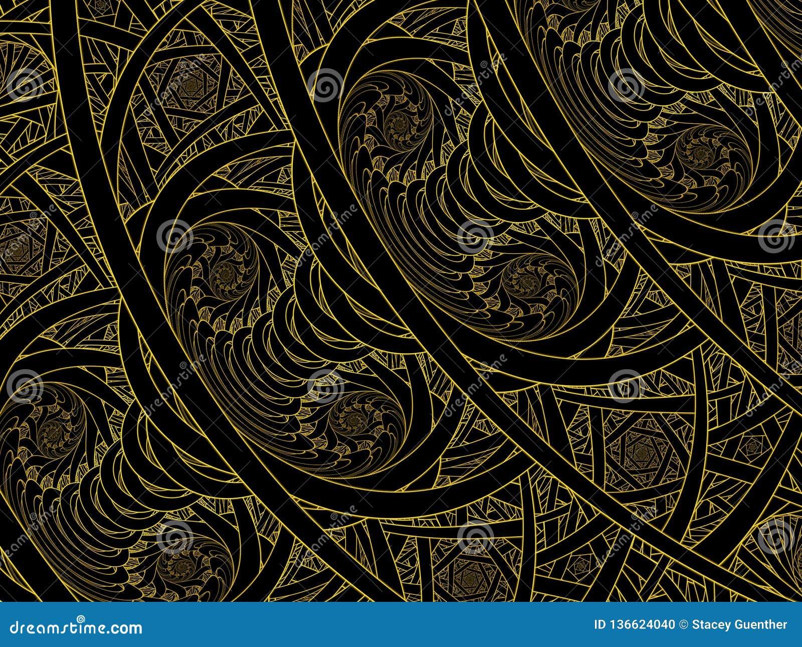 Gouden de Vlamfractal van gebrandschilderd glas Dubbele Nautilus