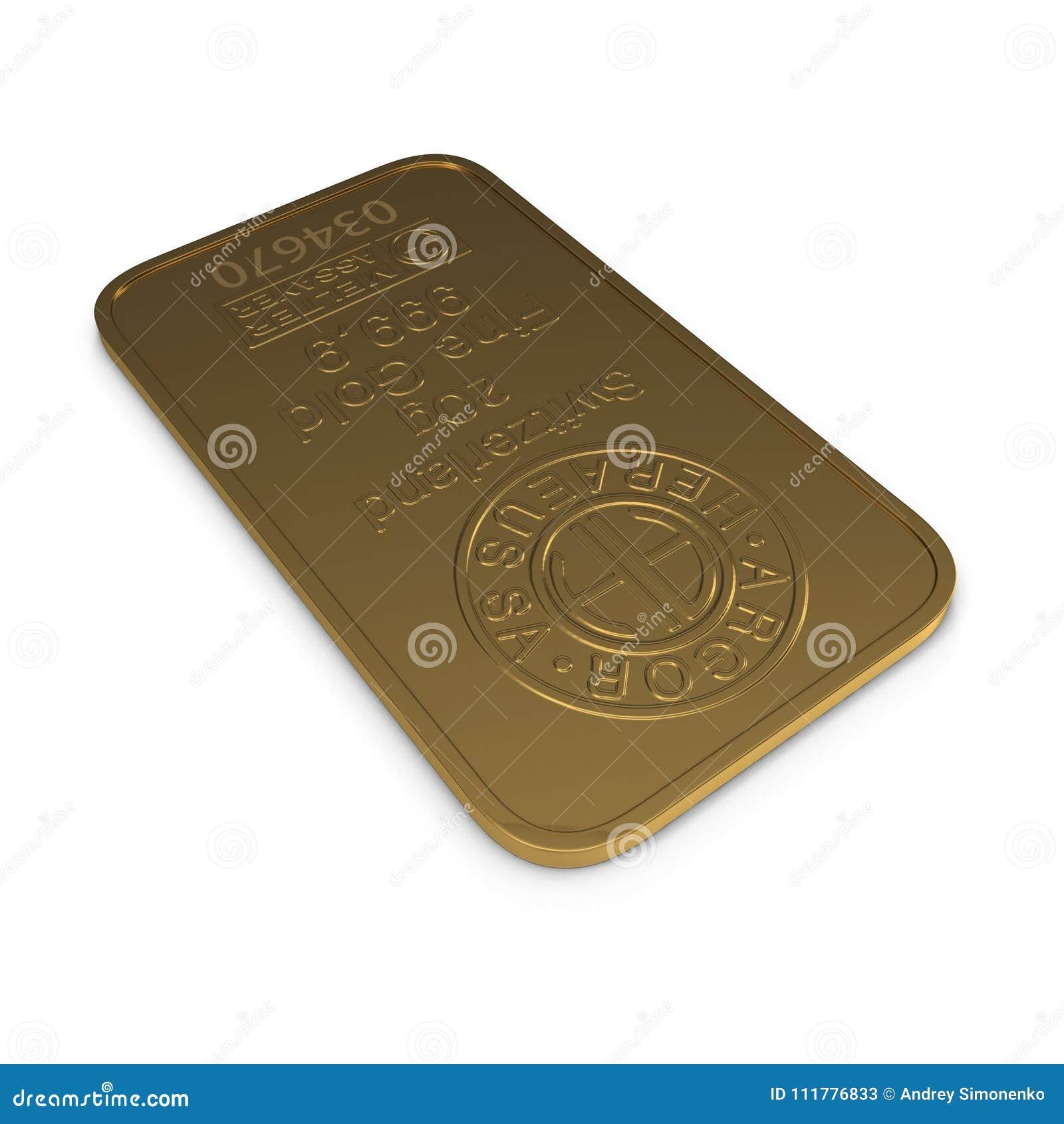 Gouden die bar 20g op wit wordt geïsoleerd 3D Illustratie