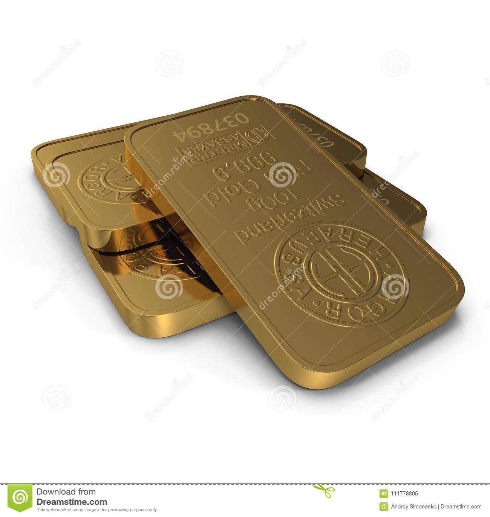 Gouden die bar 100g op wit wordt geïsoleerd 3D Illustratie
