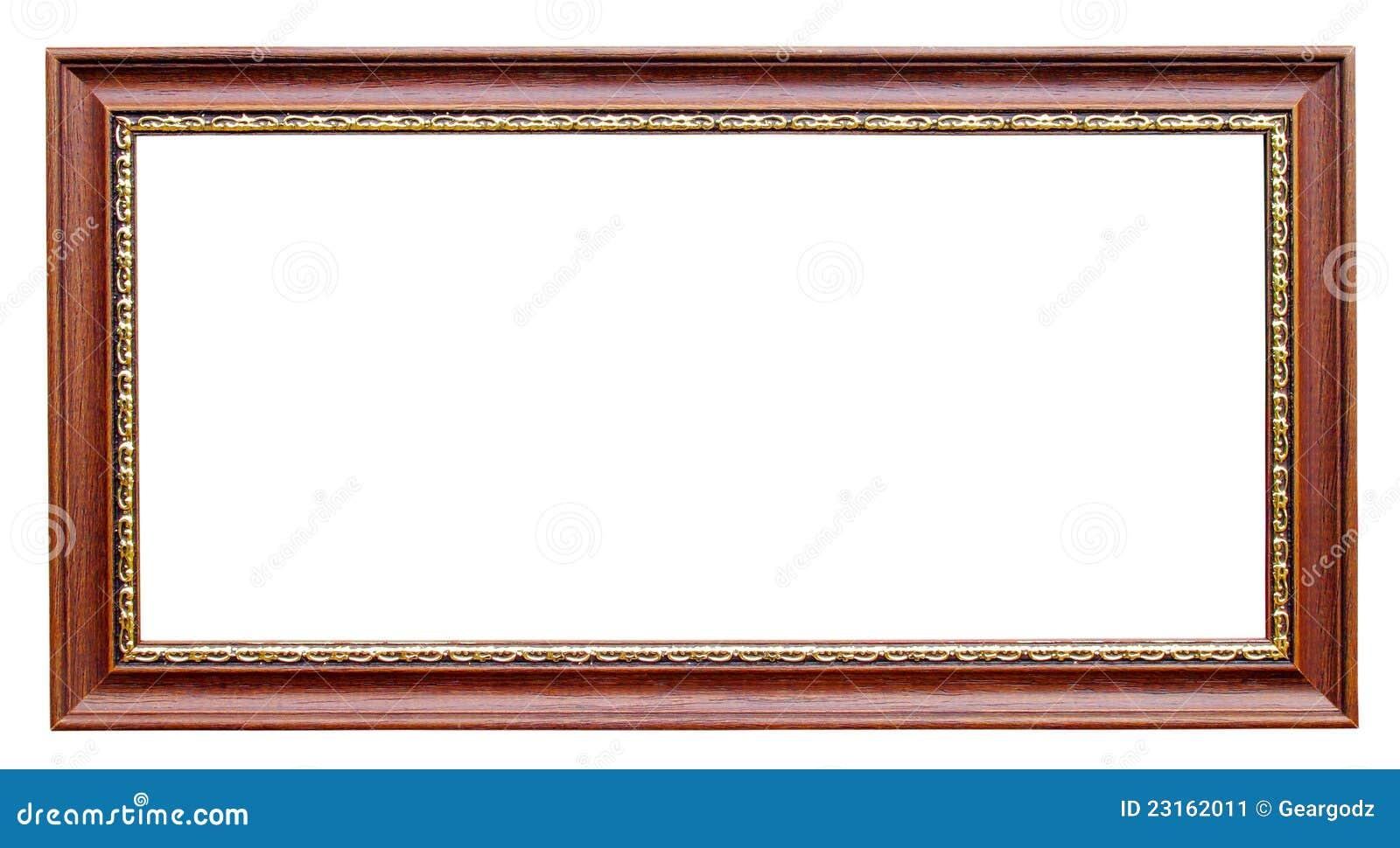Gouden en houten frame op wit