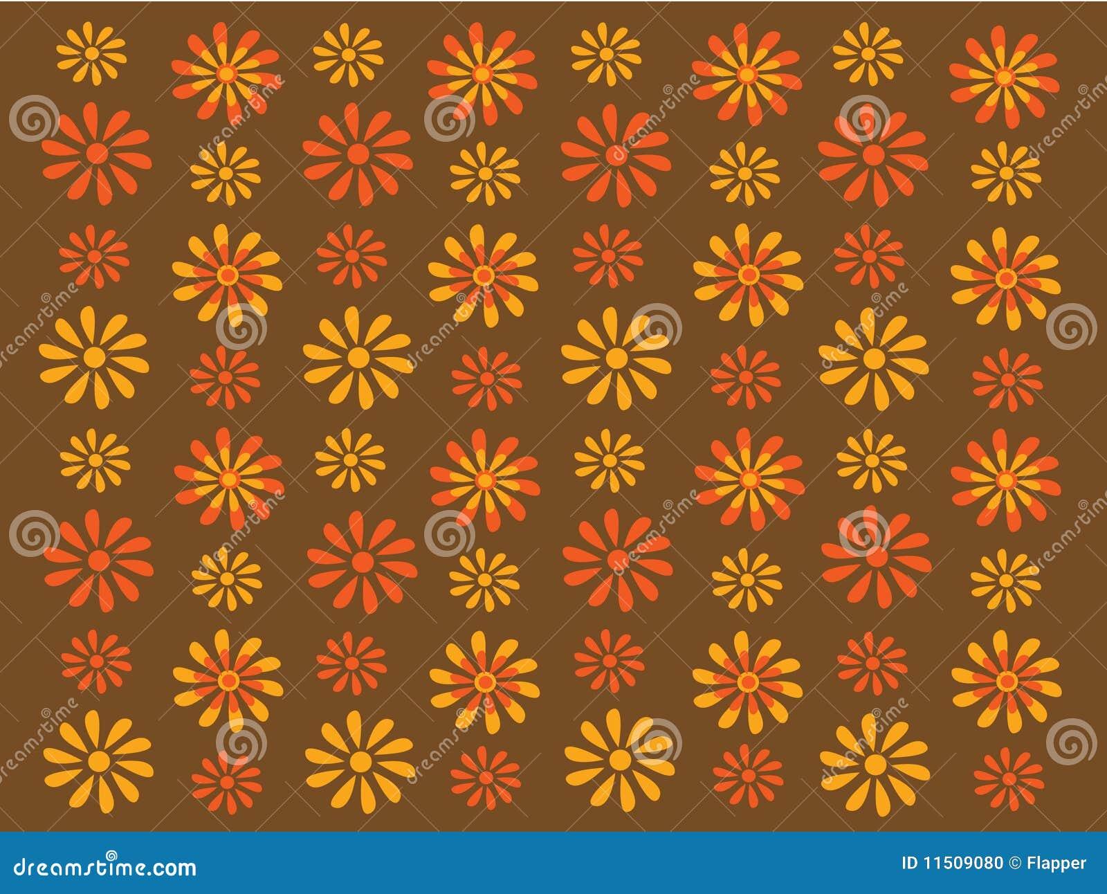 Gouden en oranje retro bloemen op bruine achtergrond vector illustratie afbeelding 11509080 - Kussen oranje en bruin ...