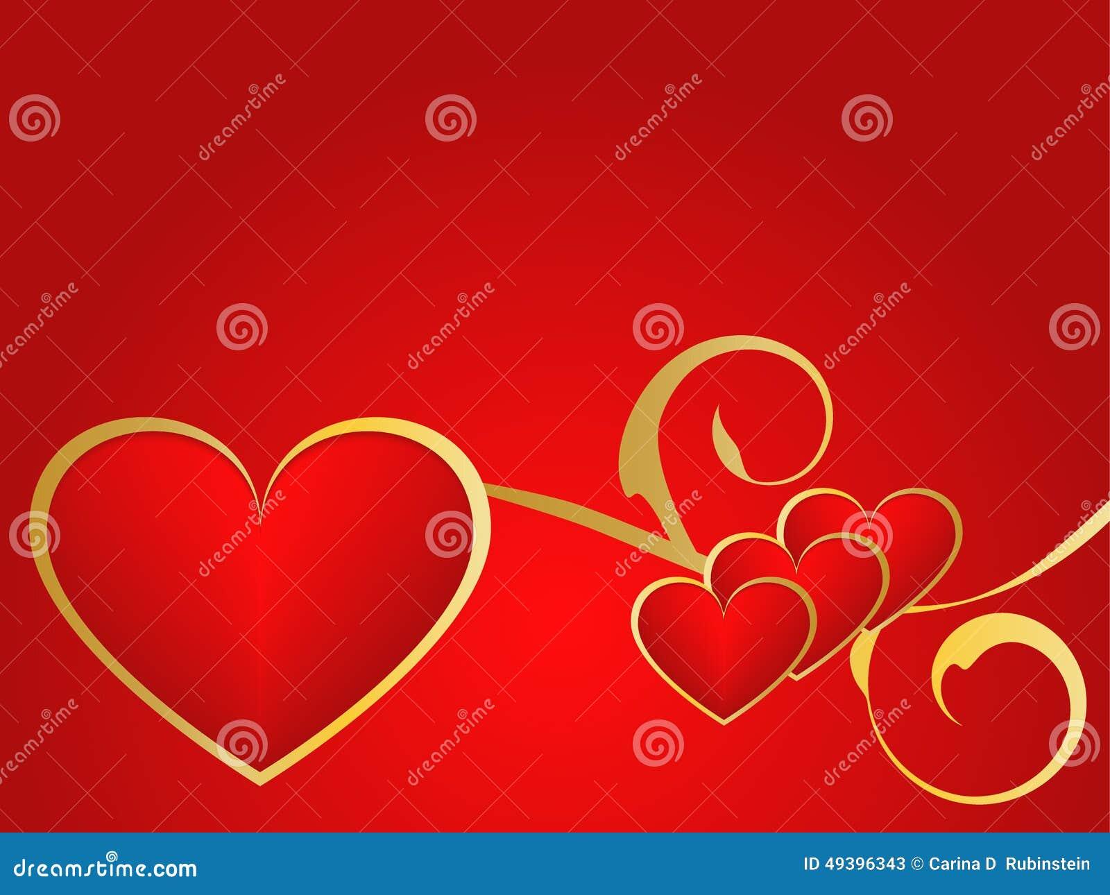 Gouden en rode liefdeachtergrond