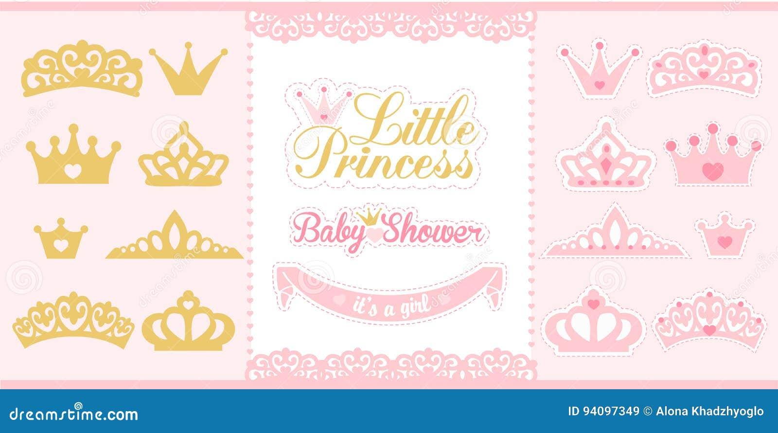 Gouden en roze geplaatste kronen De elementen van weinig prinsesontwerp