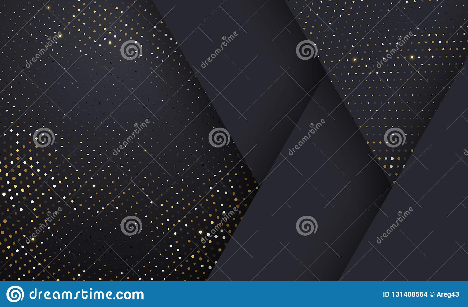Gouden en zilveren halftone patroon geometrische zwarte achtergrond Vector gouden schittert gestippelde fonkelingen of halftone g