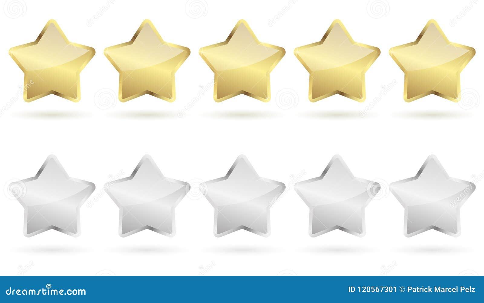 5 gouden en zilveren sterren -
