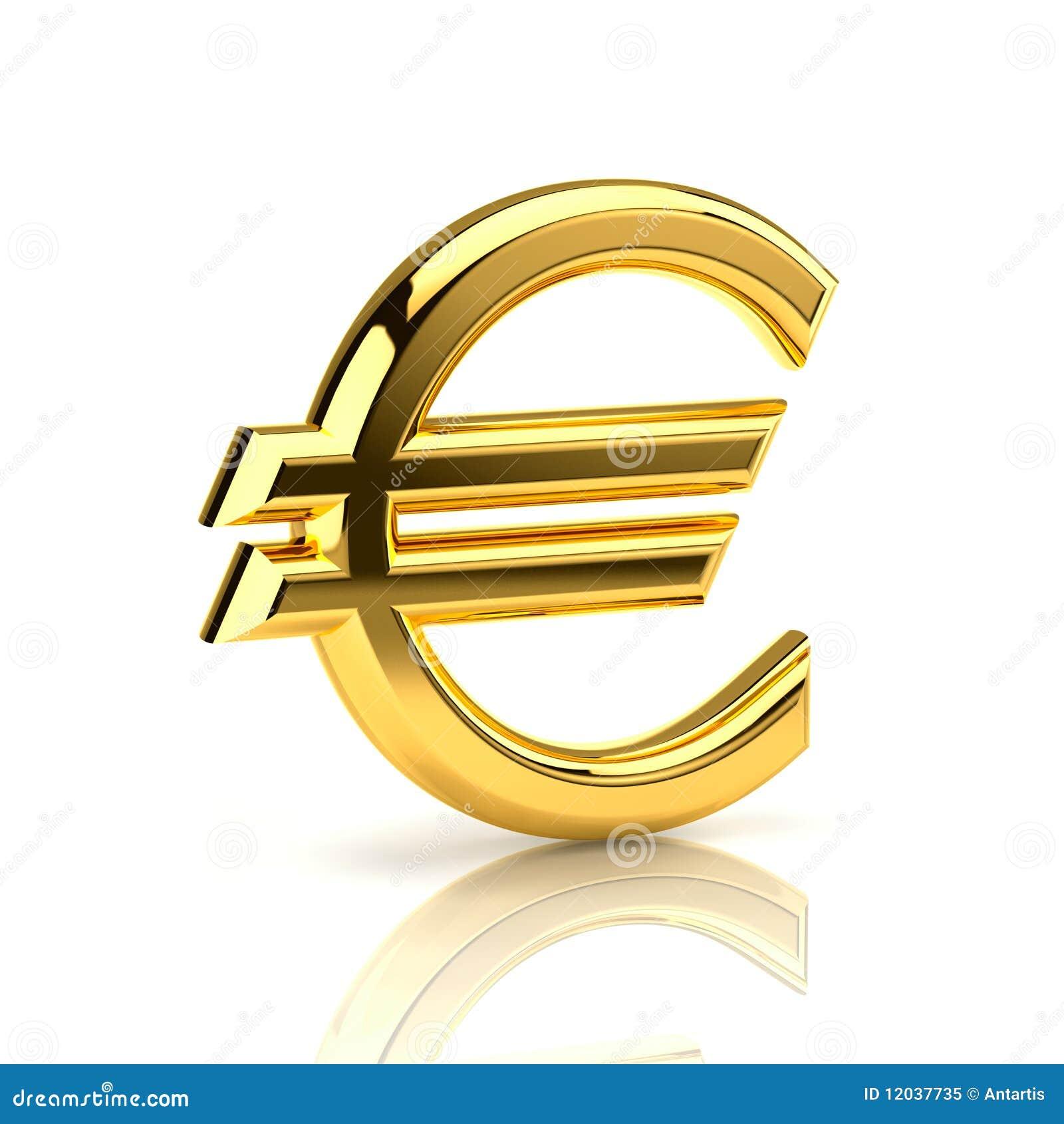 Het euro teken, dat van goud wordt gemaakt, bevindt zich rechtop op ...