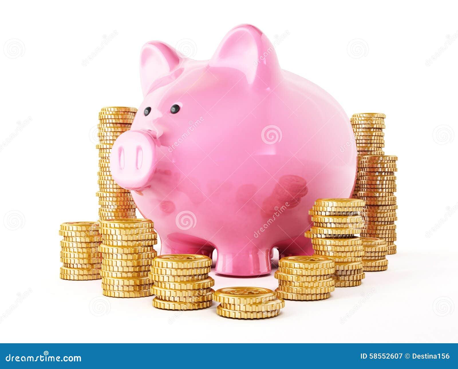 Gouden geïsoleerde muntstukken en spaarvarken op witte achtergrond