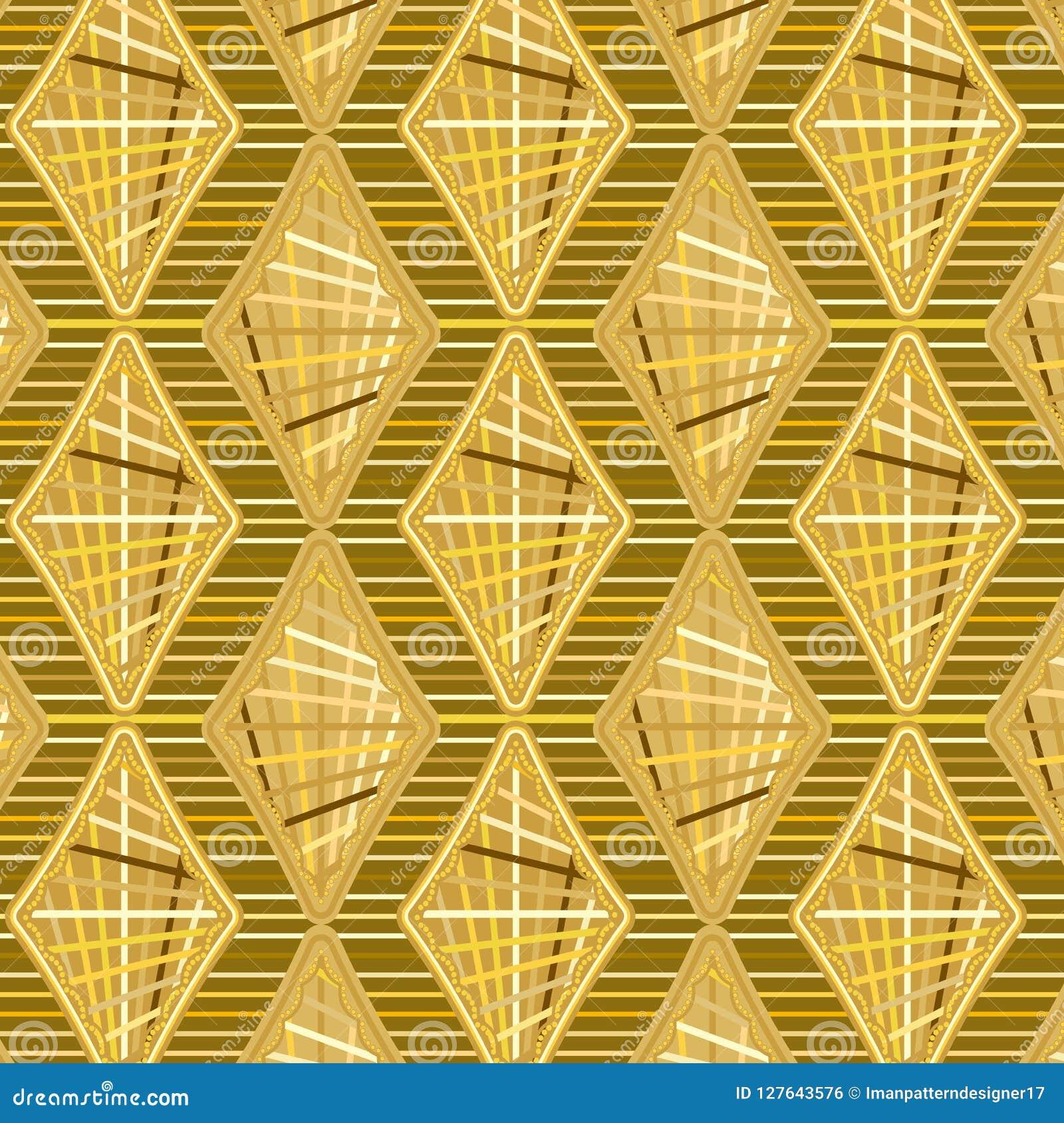 Gouden Gekleurde diamanten en strepen in een het herhalen koel patroon