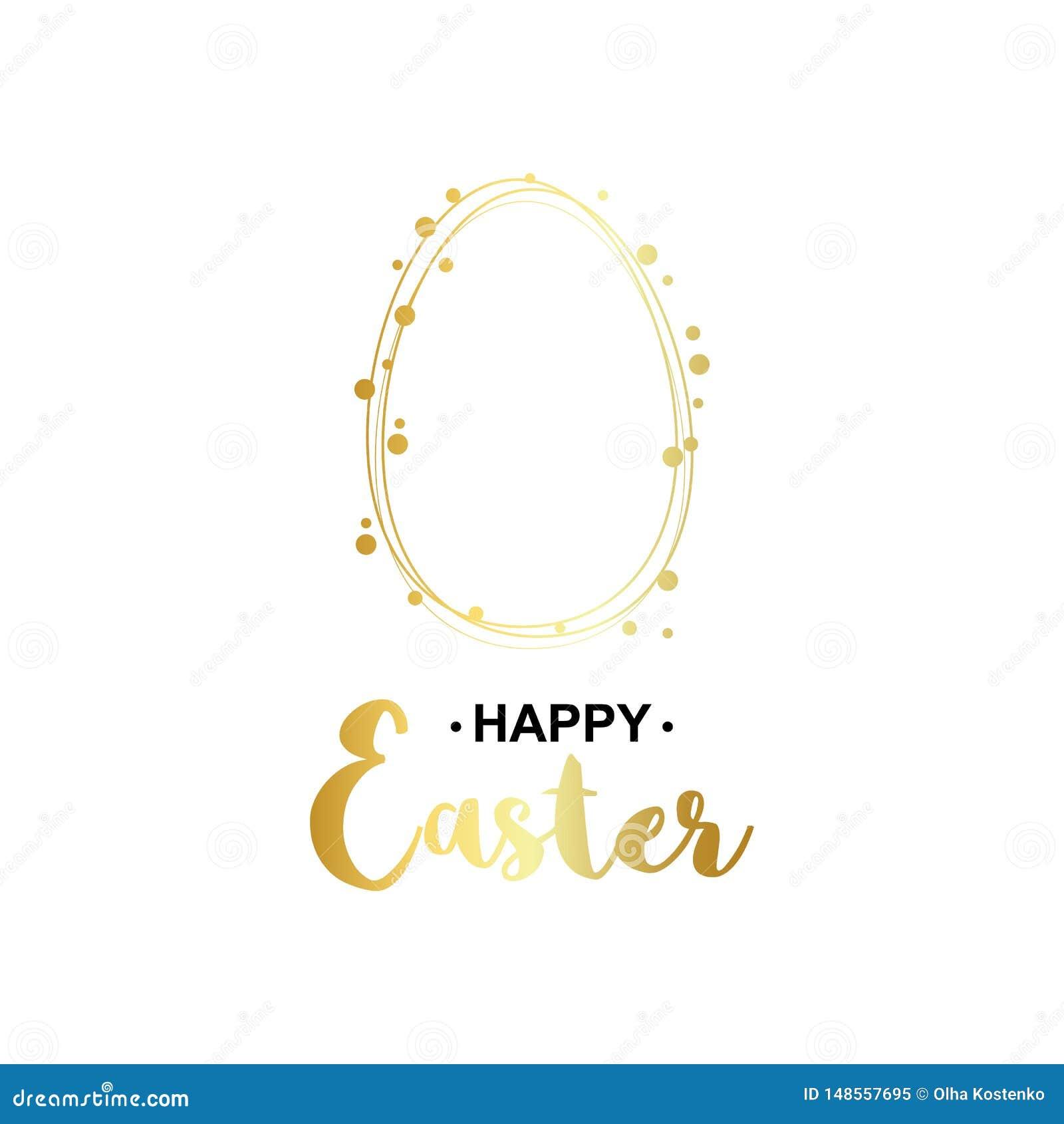 Gouden gelukkige Pasen-kaart