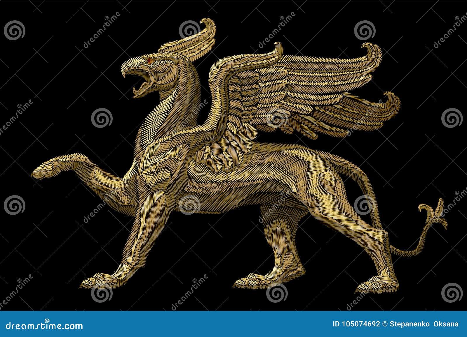 Gouden geweven textiel het flardontwerp van de borduurwerkgriffioen De druk van de het ornamentstof van de manierdecoratie Goud o