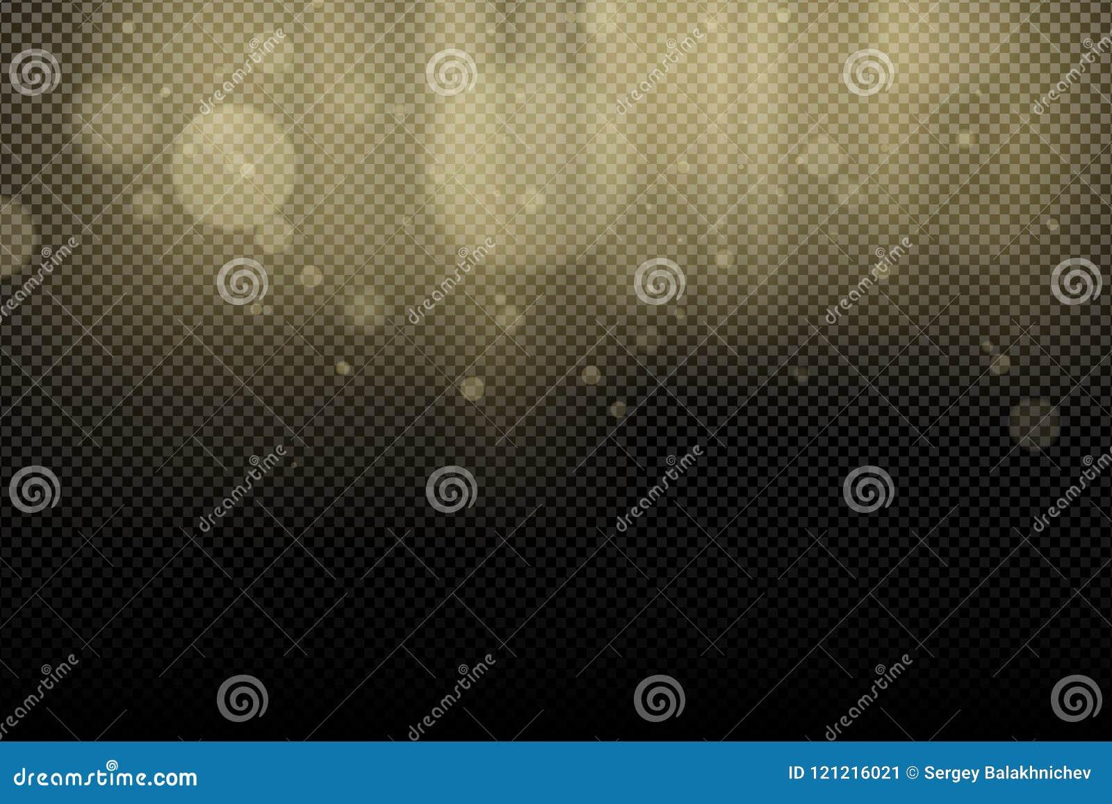 Gouden glans bokeh en stralenlicht op een transparante achtergrond Abstracte achtergrond voor uw ontwerp Lichteffect voor de foto