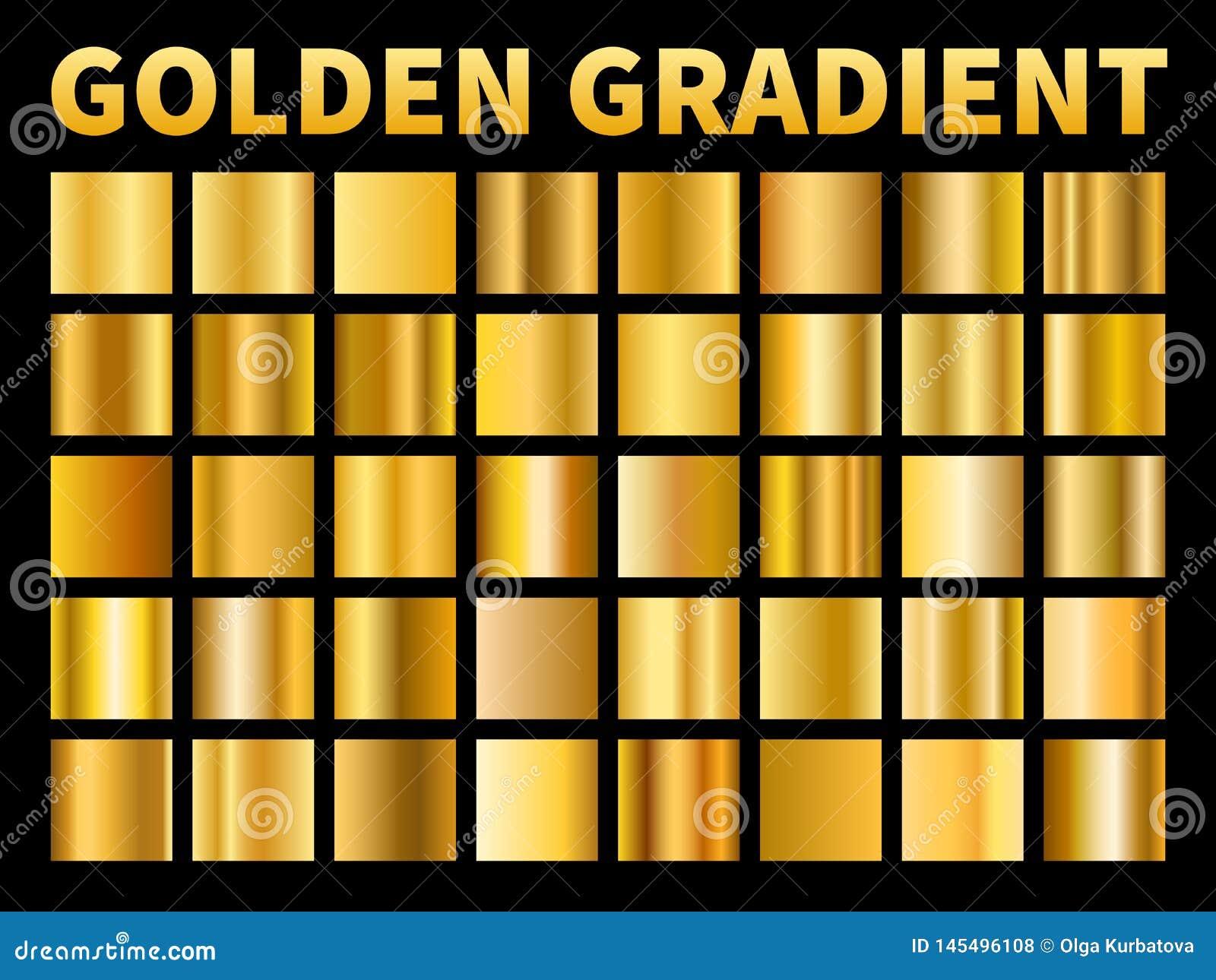 Gouden gradi?nten Het gouden vierkantenmetaal polijst gradi?ntmonsters, leeg metaal geel plaatkader, etikettextuur Vector
