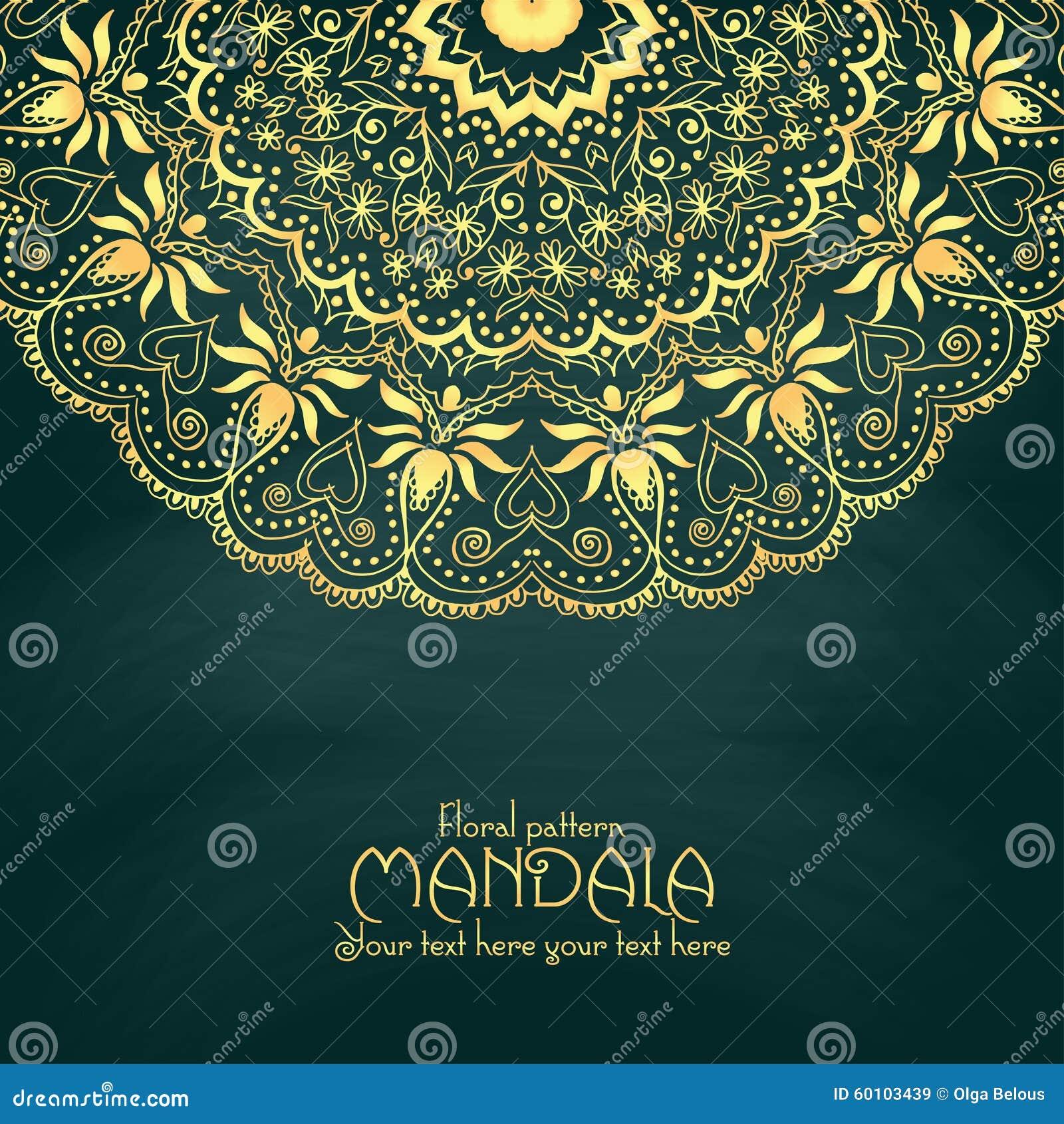 Gouden het ontwerpmalplaatje van het mandalapatroon wijnoogst vector illustratie afbeelding - Het upgraden van m ...
