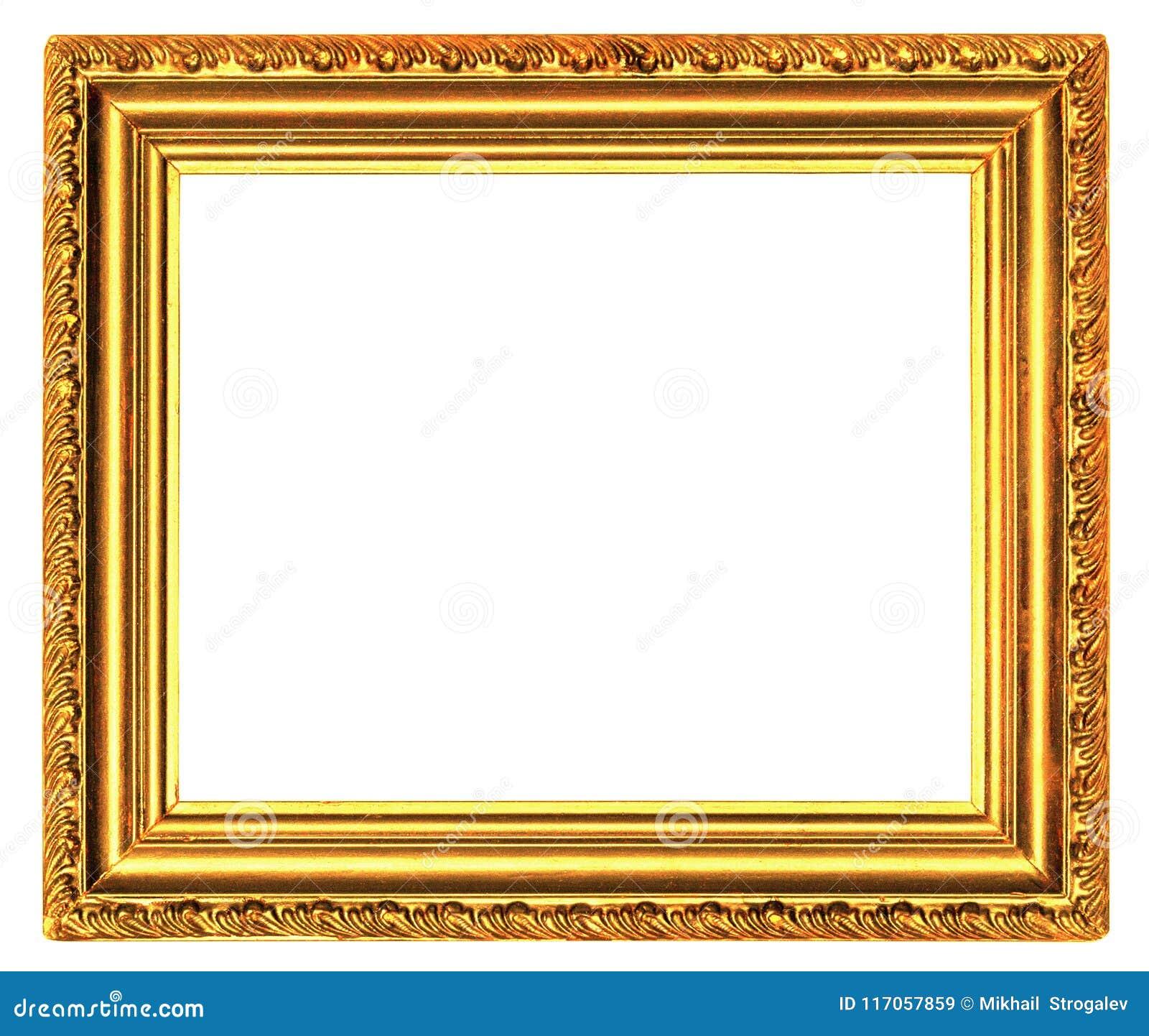 Gouden houten kader met gesneden die patroon op een wit wordt geïsoleerd