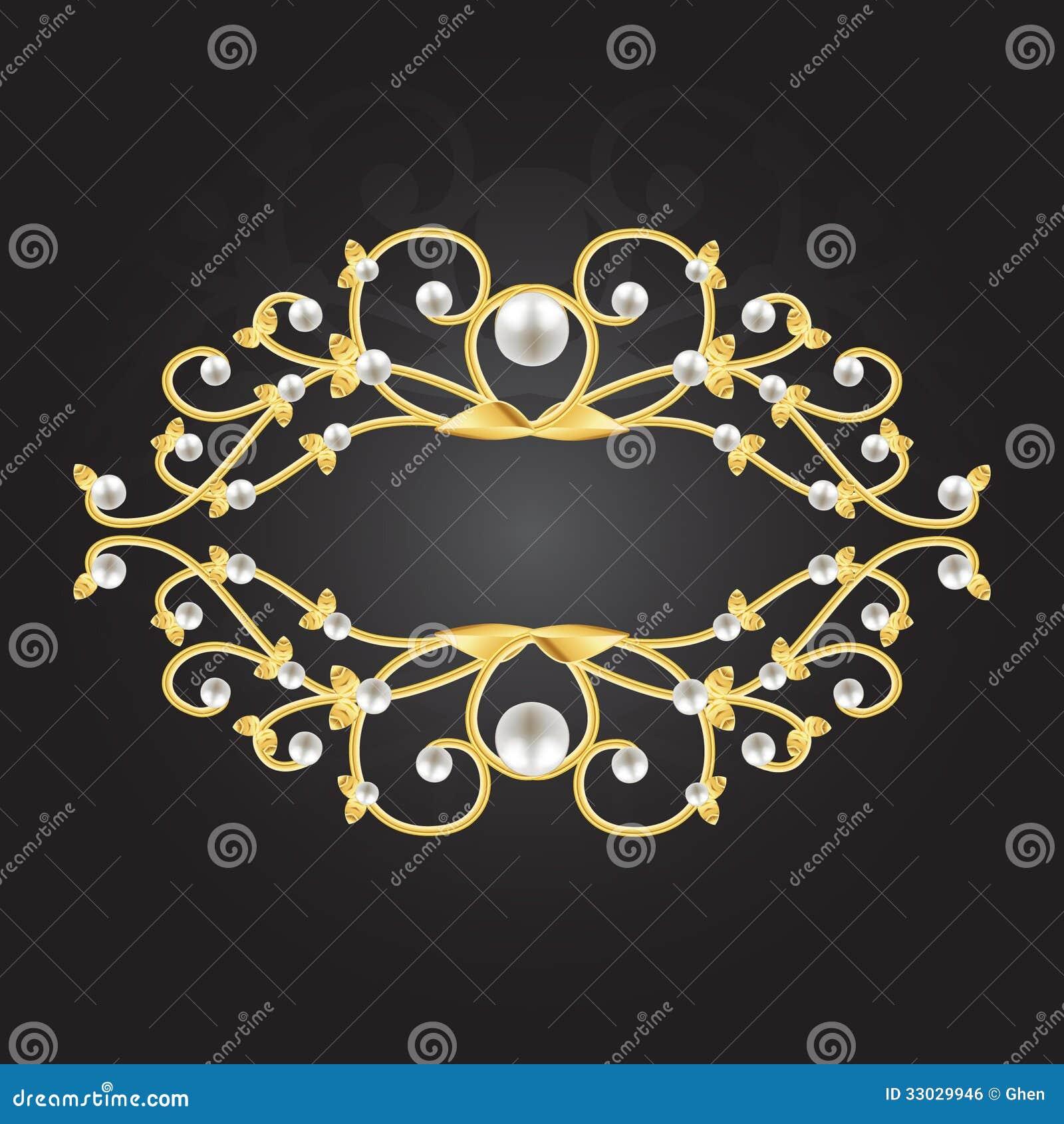Gouden kader met parels