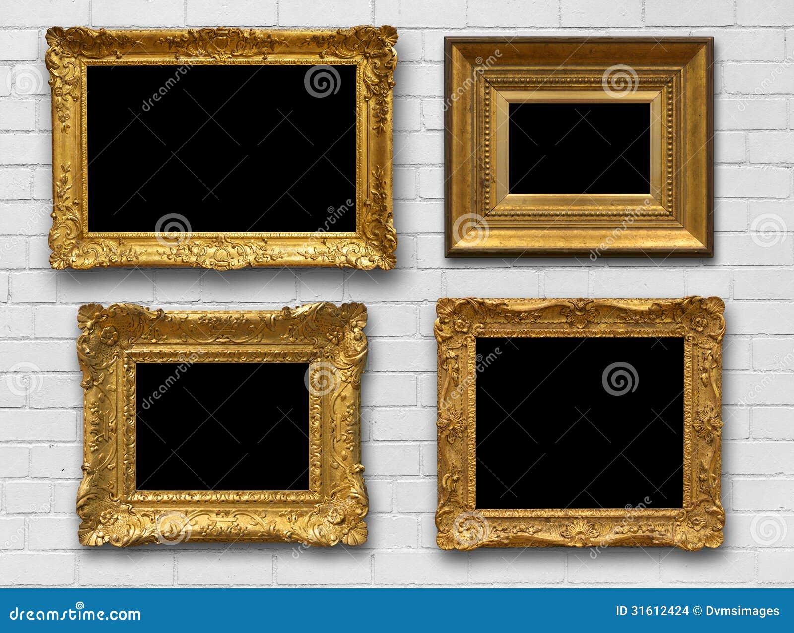 Bakstenen Muur Tuin : Gold Frames On Brick Wall