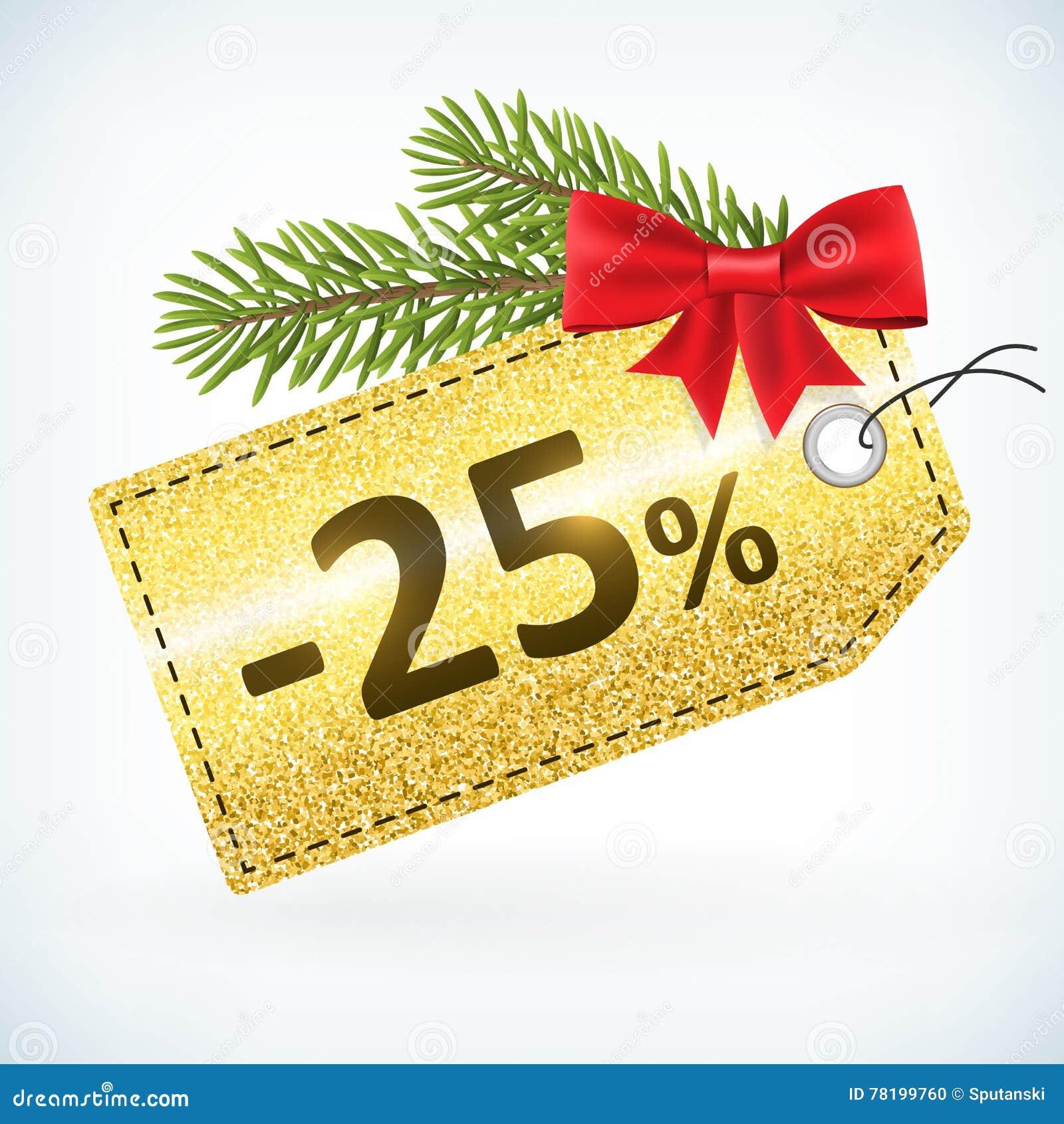 Gouden Kerstmis schittert 25 percentenetiket