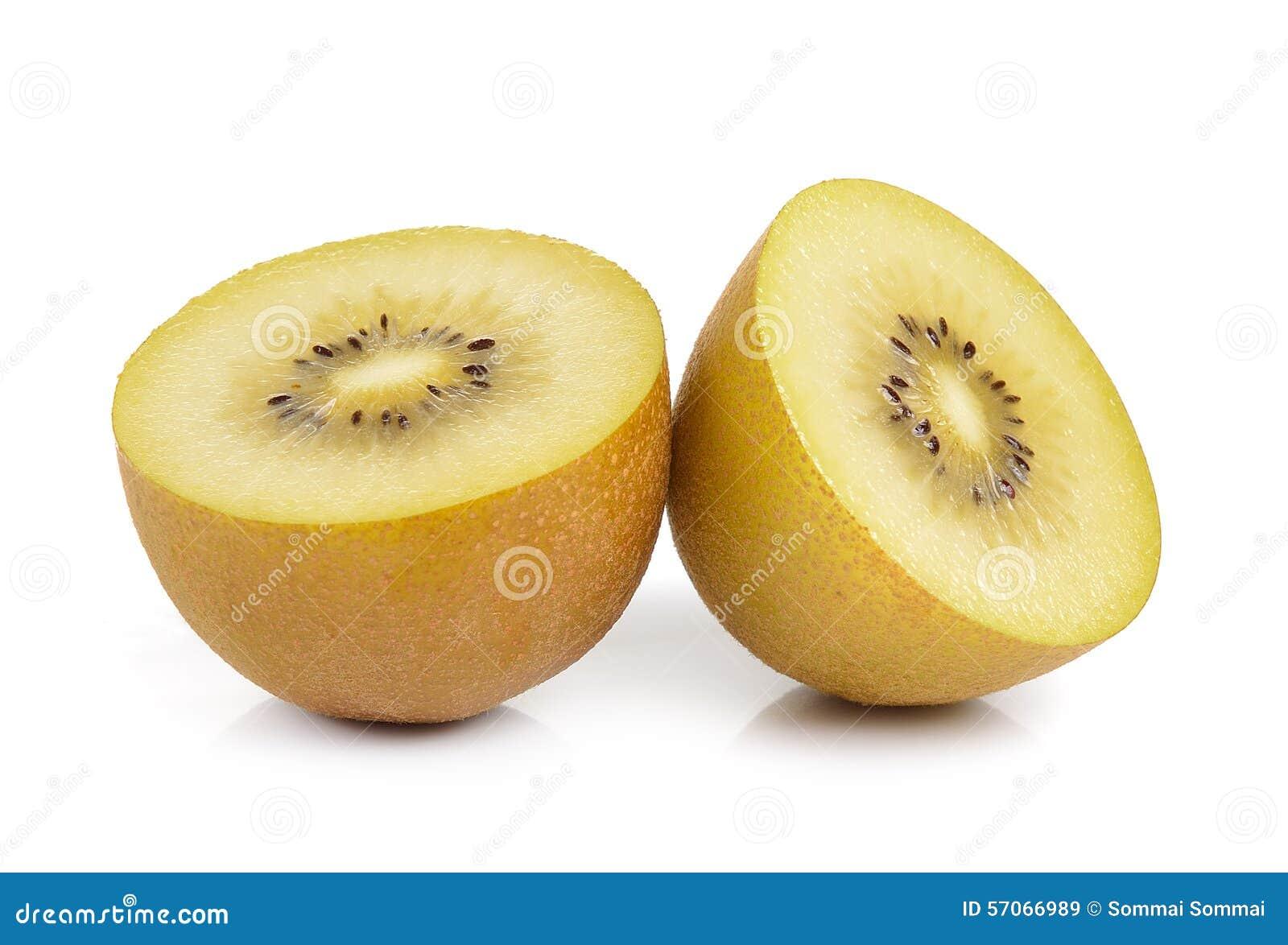 Gouden kiwifruit op witte achtergrond