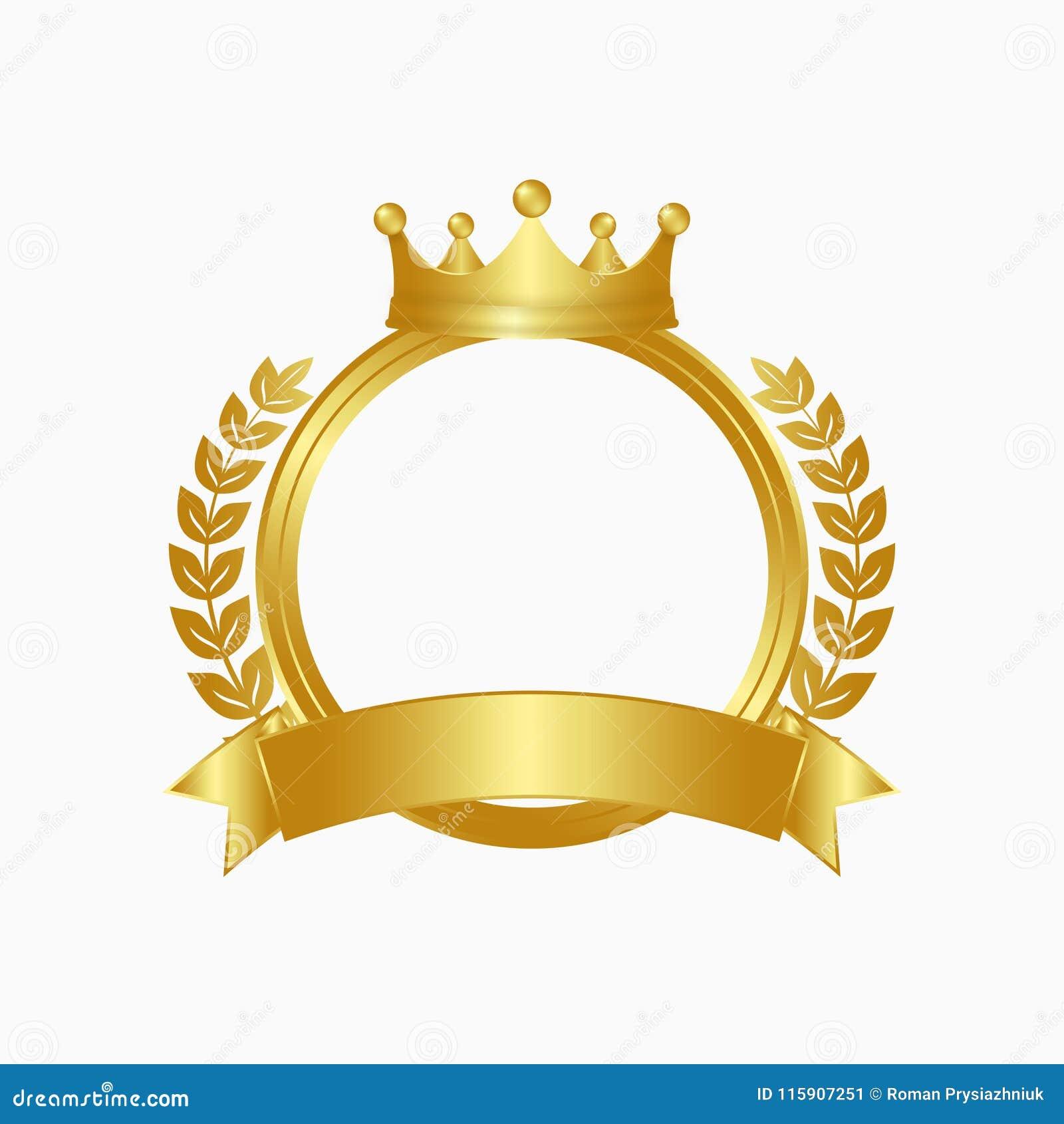 Gouden kroon, lauwerkrans en cirkelkader Winnaarteken met gouden lint Vector